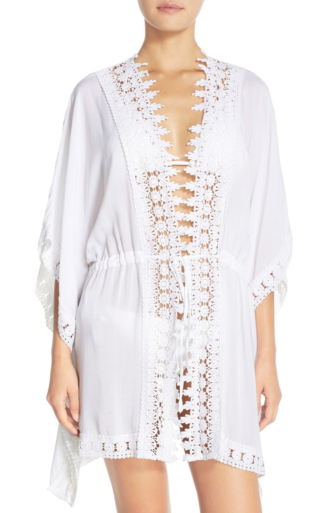 Main Image - La Blanca 'Costa Brava' Crochet Cover-Up Kimono