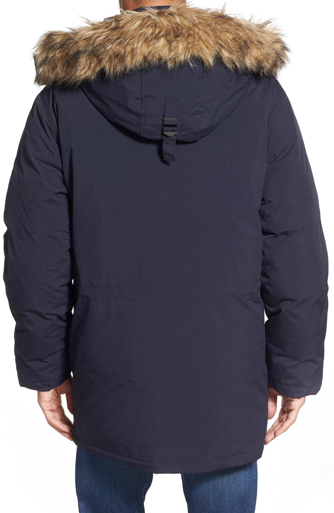 'Iceberg' Water Resistant Down Parka with Faux Fur Trim,                             Alternate thumbnail 2, color,                             Navy