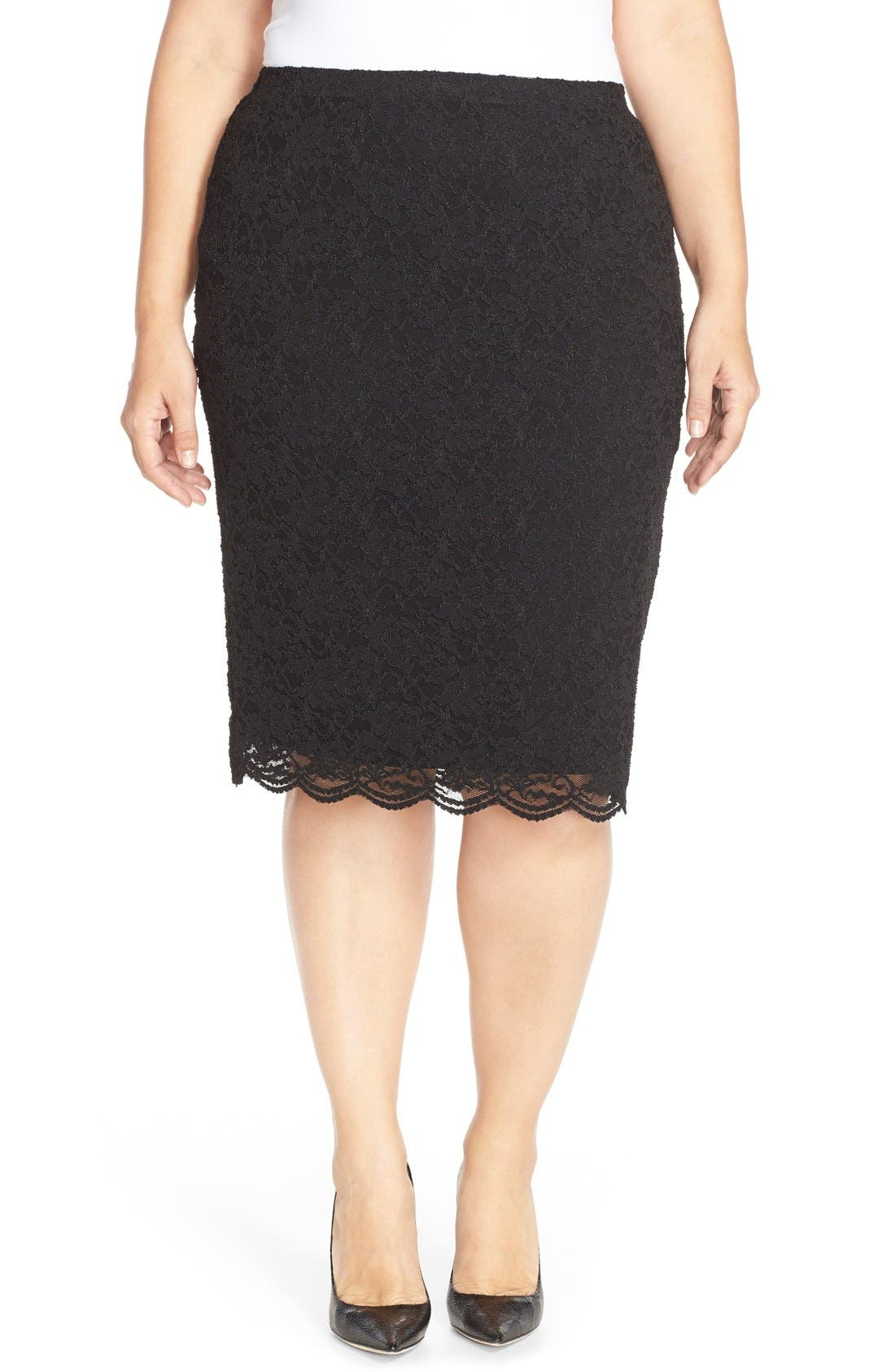 Main Image - Vince Camuto Stretch Lace Pencil Skirt (Plus Size)