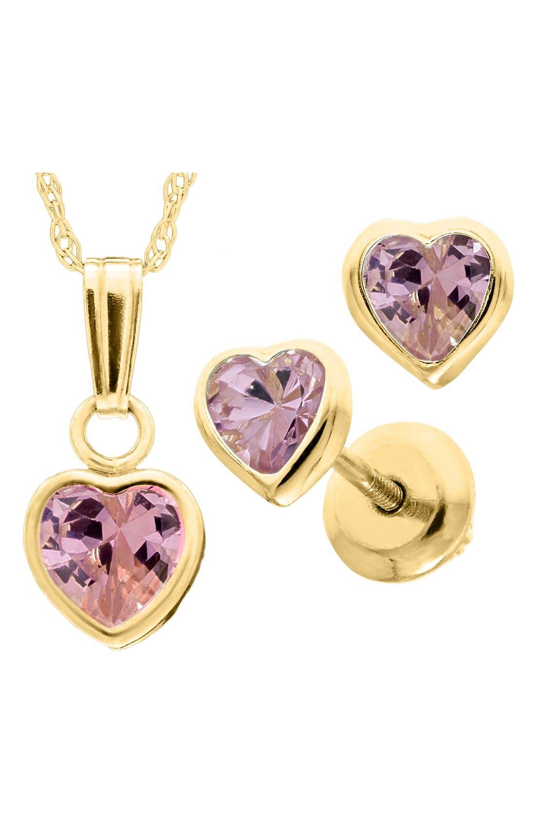14k Gold Birthstone Necklace & Stud Earrings,                             Alternate thumbnail 2, color,                             October