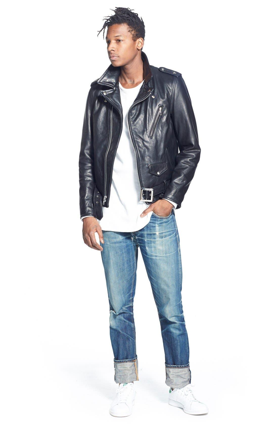 Alternate Image 8  - Schott NYC Perfecto Slim Fit Waxy Leather Moto Jacket