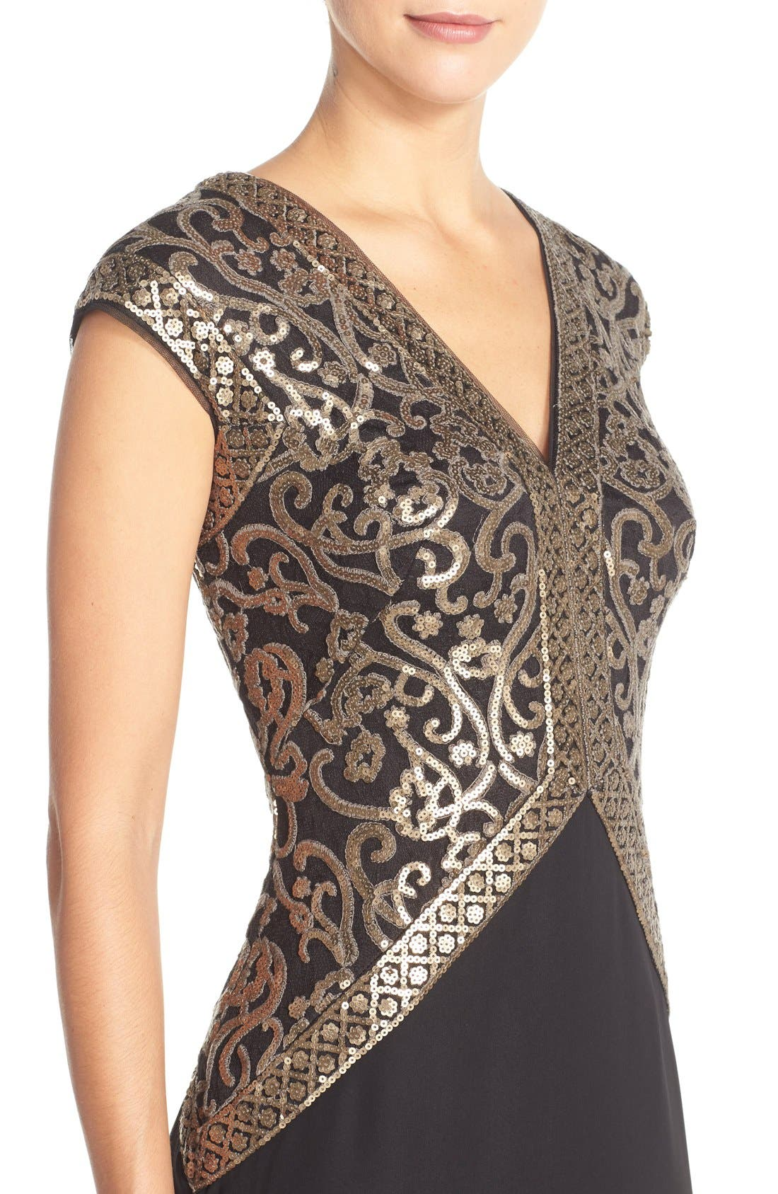 Sequin Embroidered Gown,                             Alternate thumbnail 4, color,                             Smoke Pearl/ Black