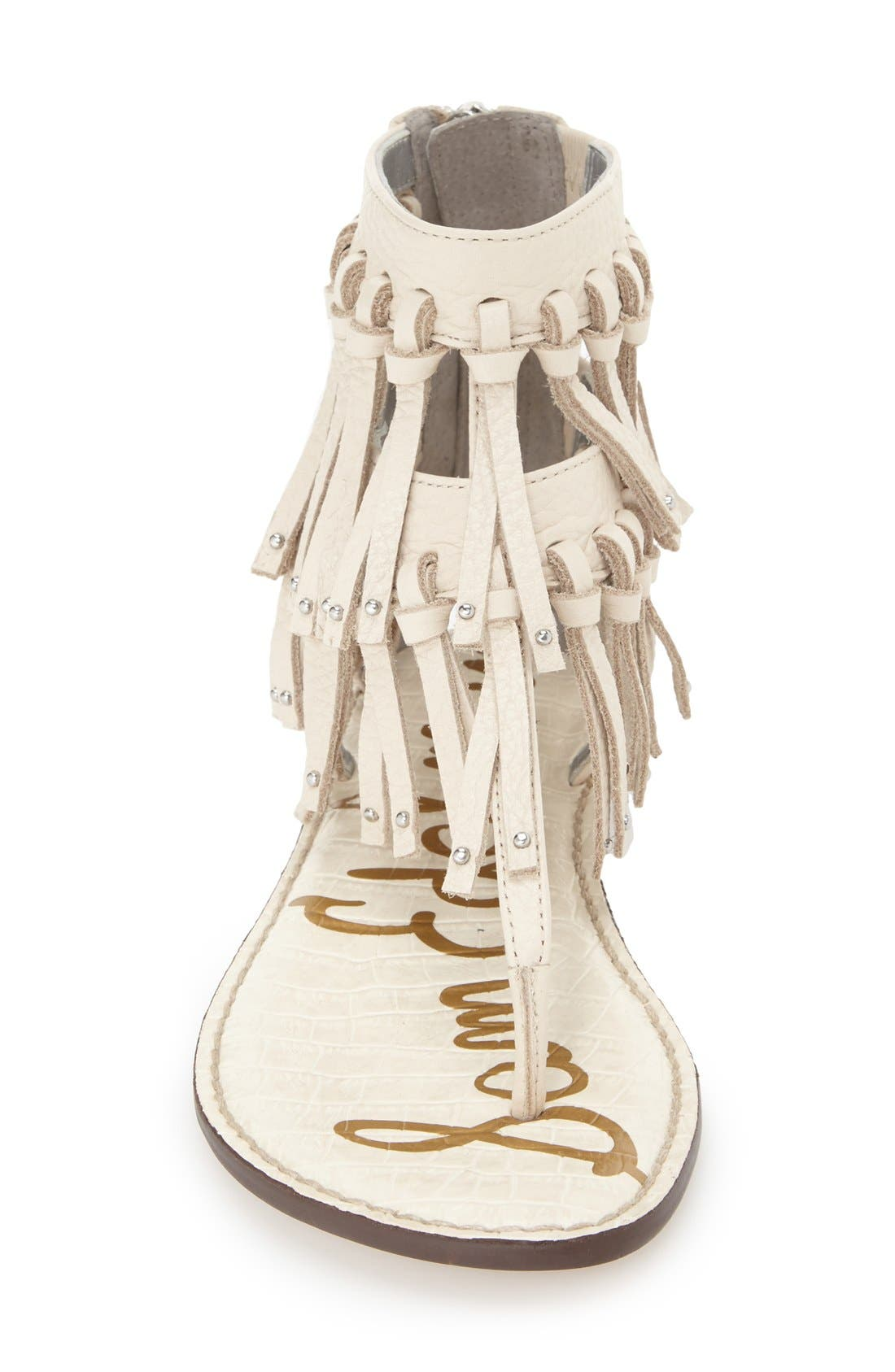 'Griffen' Fringe Sandal,                             Alternate thumbnail 3, color,                             Modern Ivory Leather
