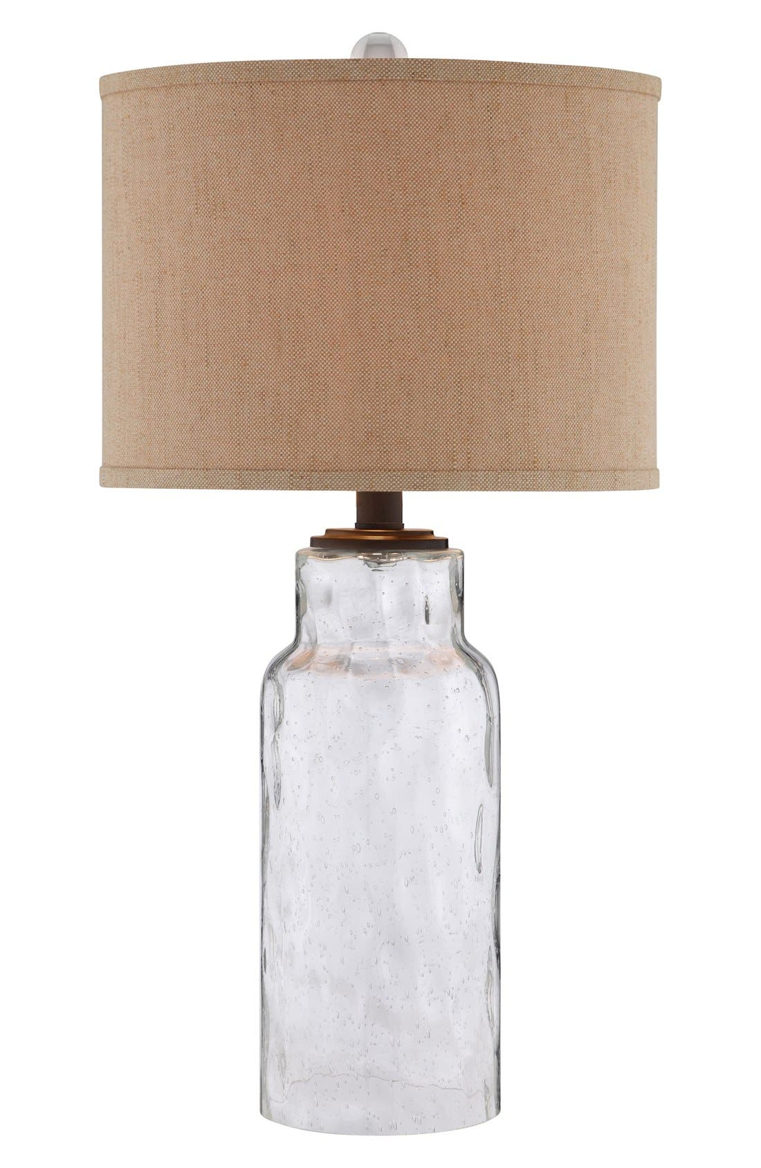 Clear Dimpled Glass Table Lamp,                             Main thumbnail 1, color,                             Clear Glass/ Dark Bronze