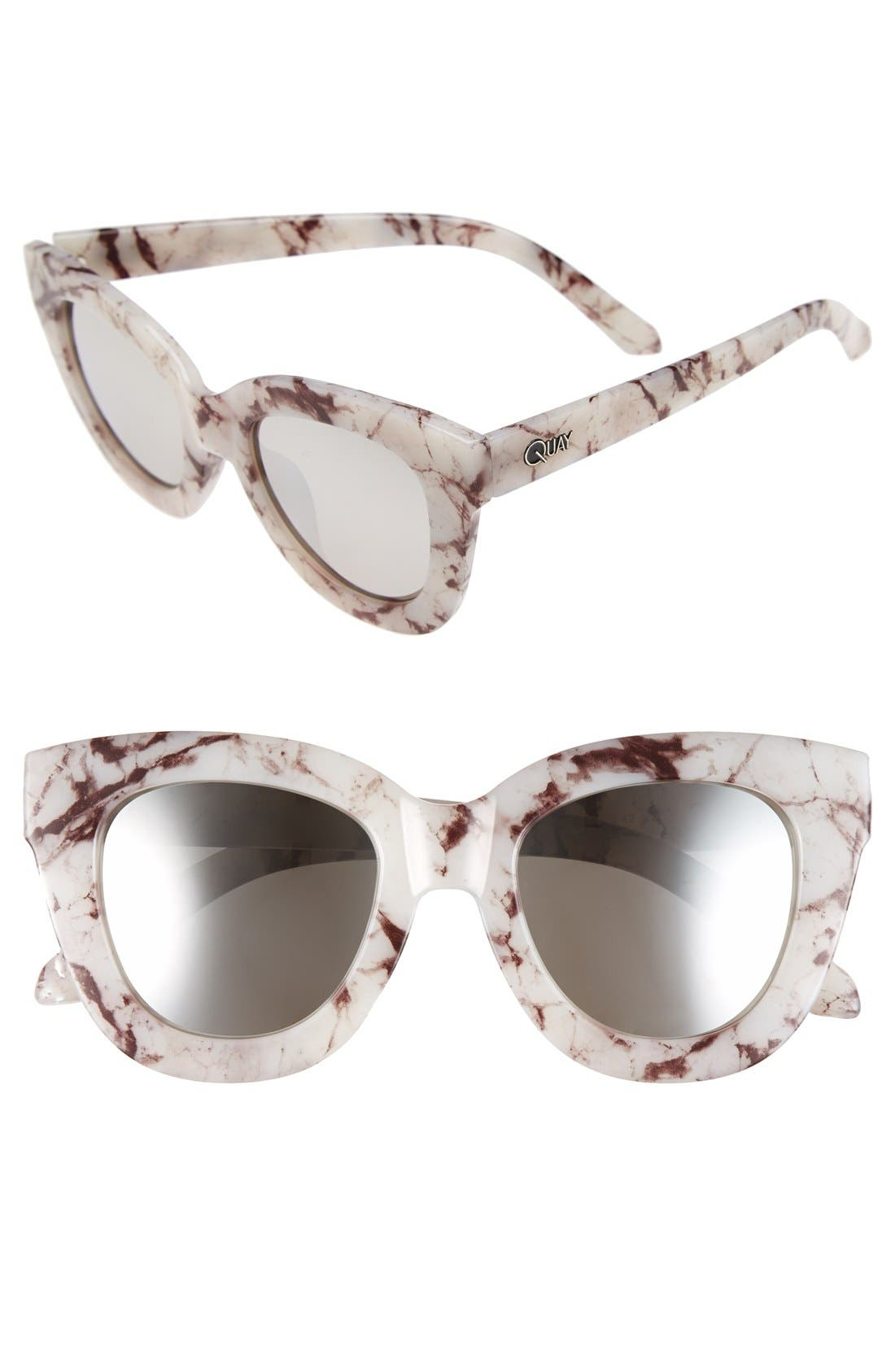 'Sugar and Spice' 50mm Cat Eye Sunglasses,                             Main thumbnail 1, color,                             White Marble/ Smoke Lens