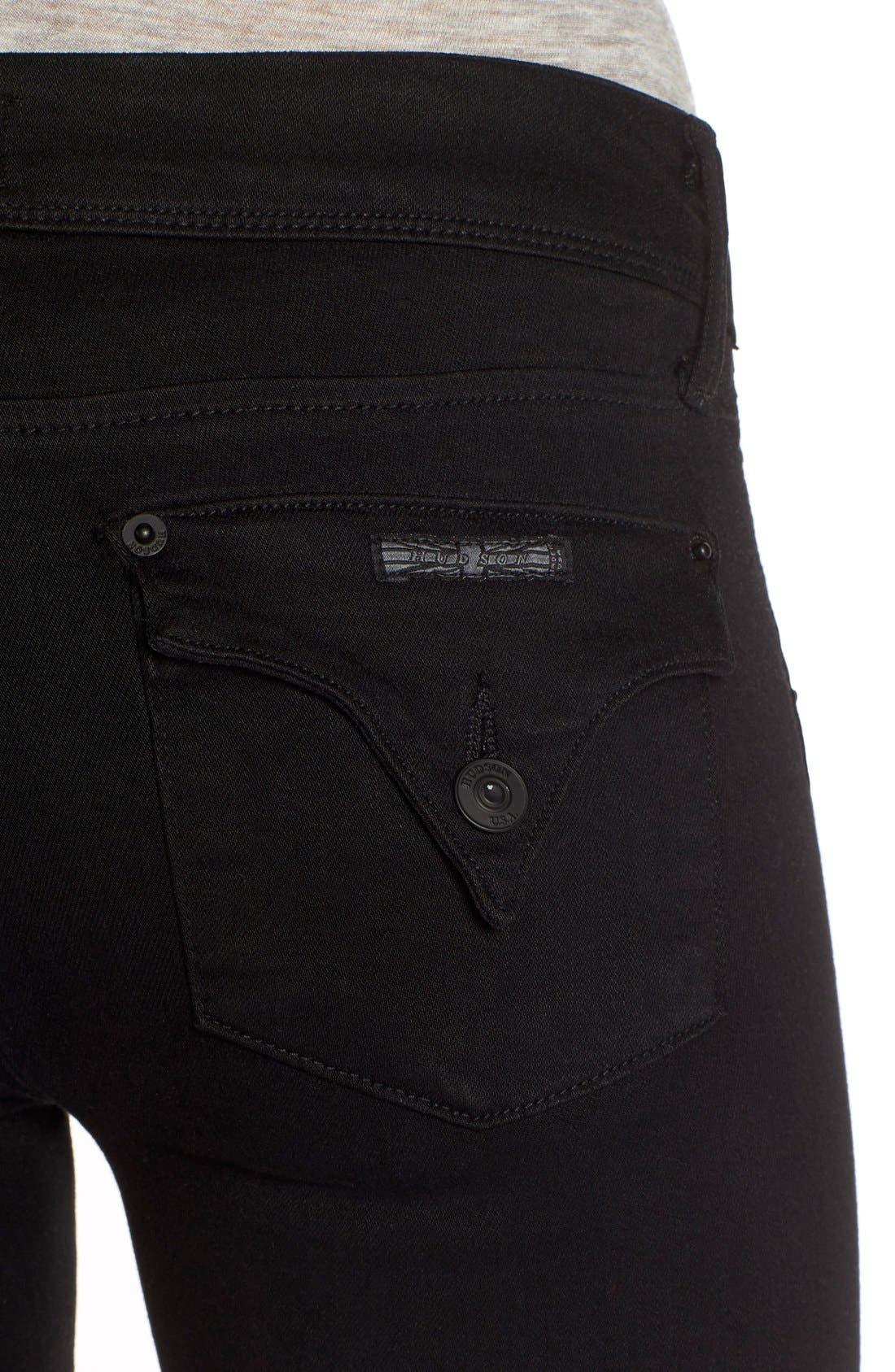Alternate Image 4  - Hudson Jeans 'Collin' Supermodel Skinny Jeans (Black) (Long)