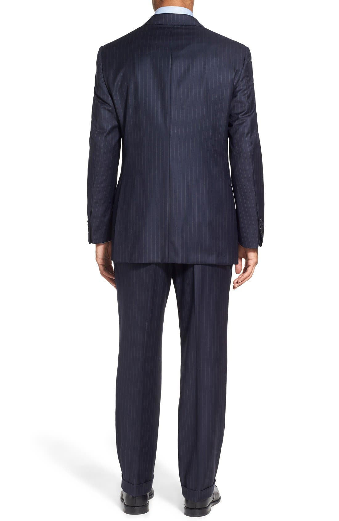 'Beacon - B Series' Classic Fit Stripe Wool Suit,                             Alternate thumbnail 2, color,                             Navy