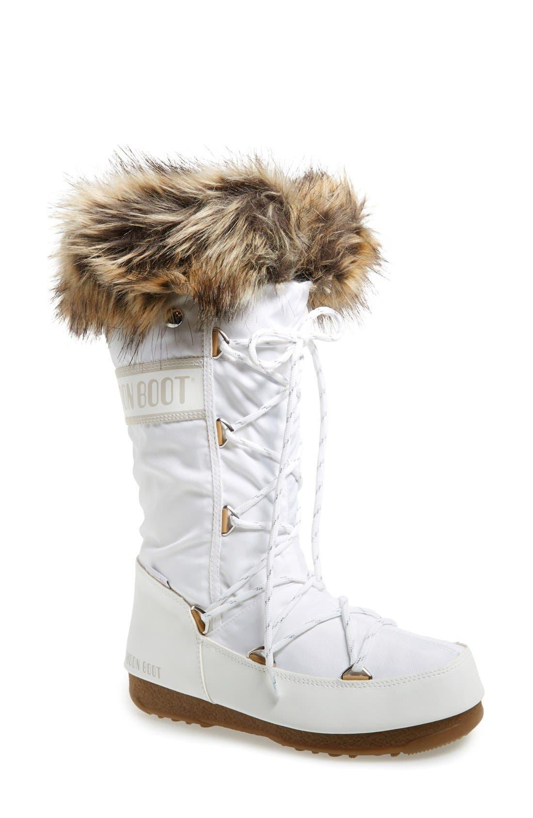'Monaco' Waterproof Insulated Moon Boot<sup>®</sup>,                             Main thumbnail 1, color,                             White
