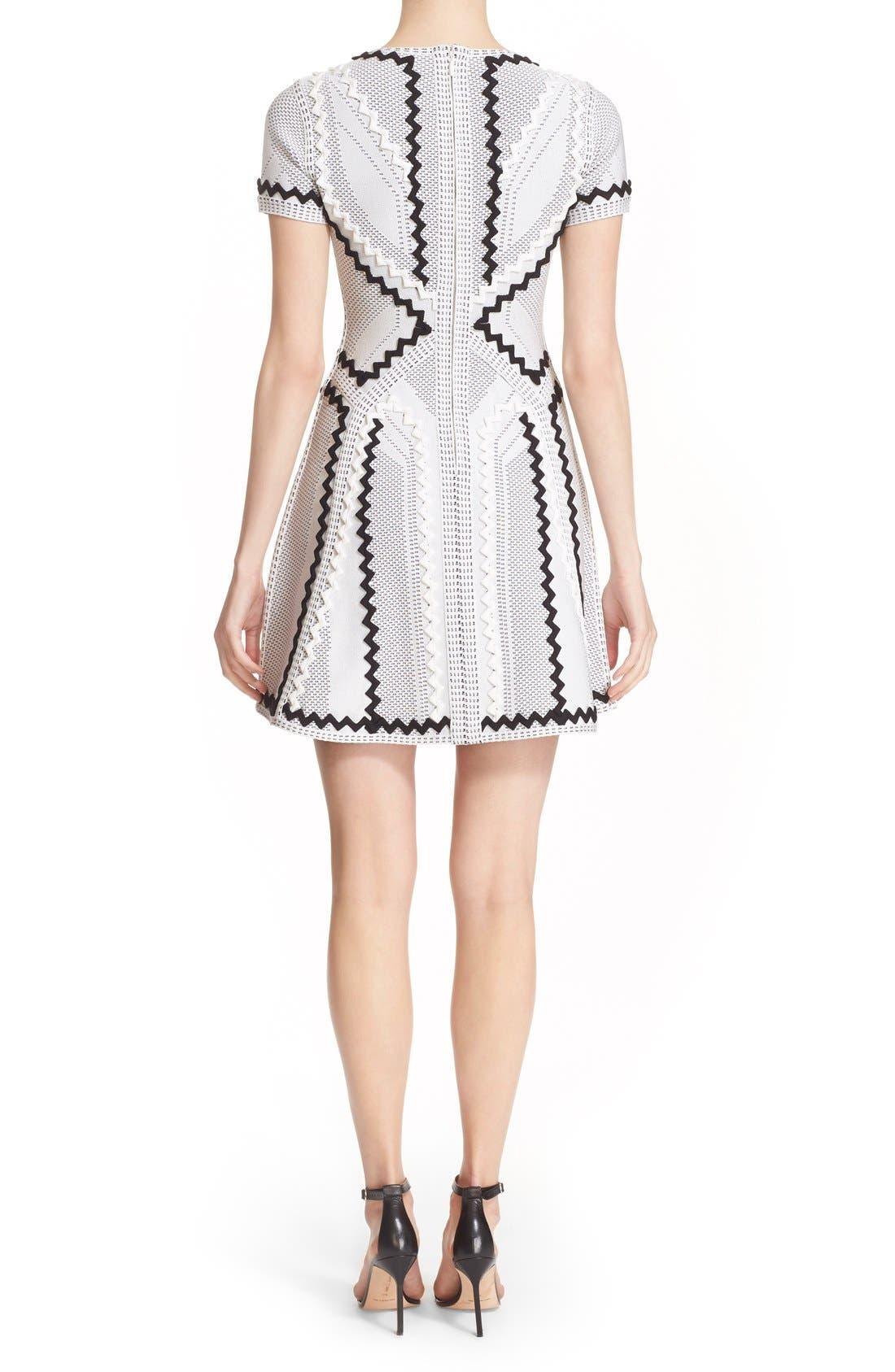 Alternate Image 2  - Herve Leger 'Morena' Zigzag Appliqué Pointelle Knit Fit & Flare Dress