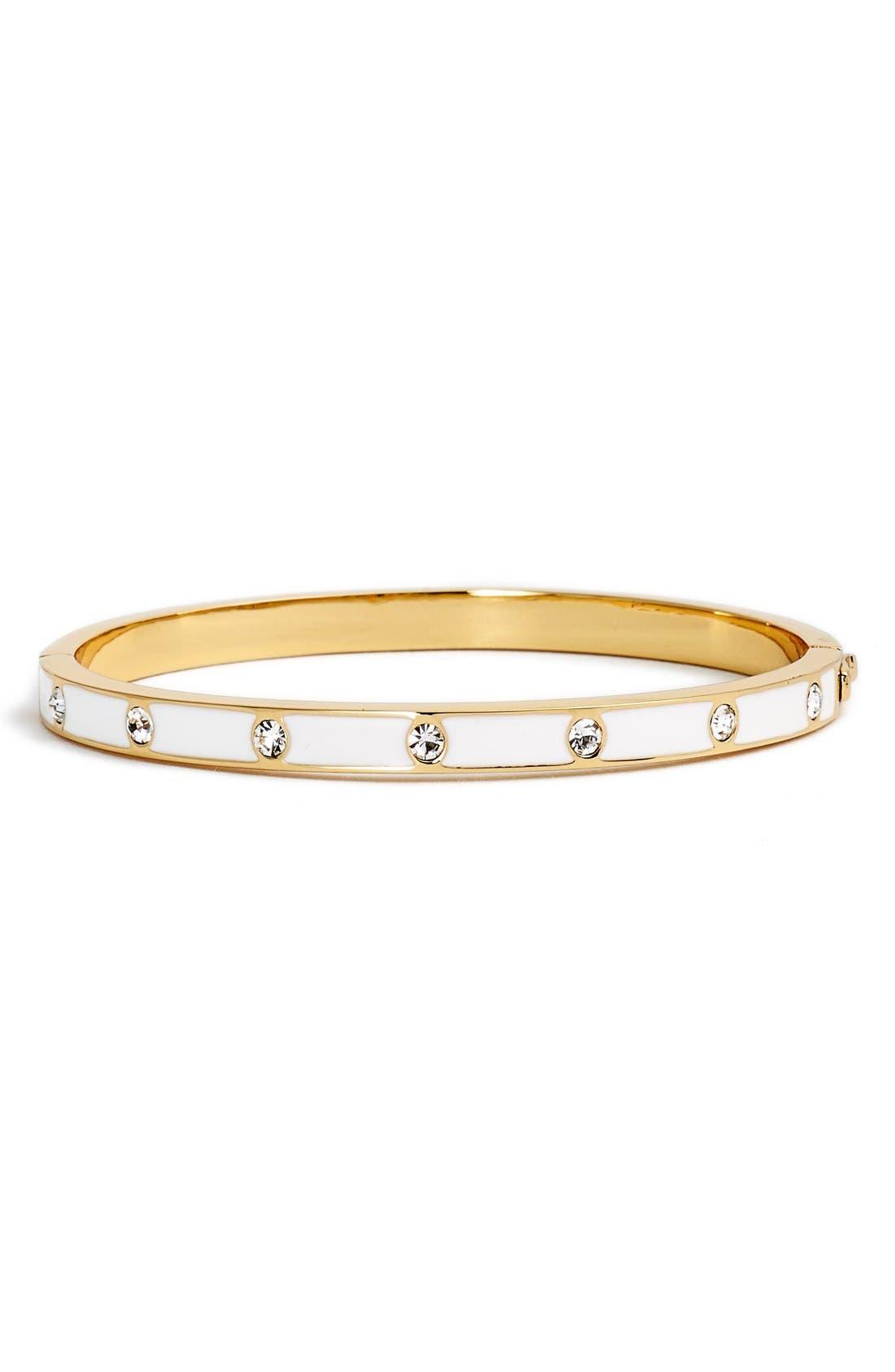 crystal & enamel hinge bangle,                         Main,                         color, White