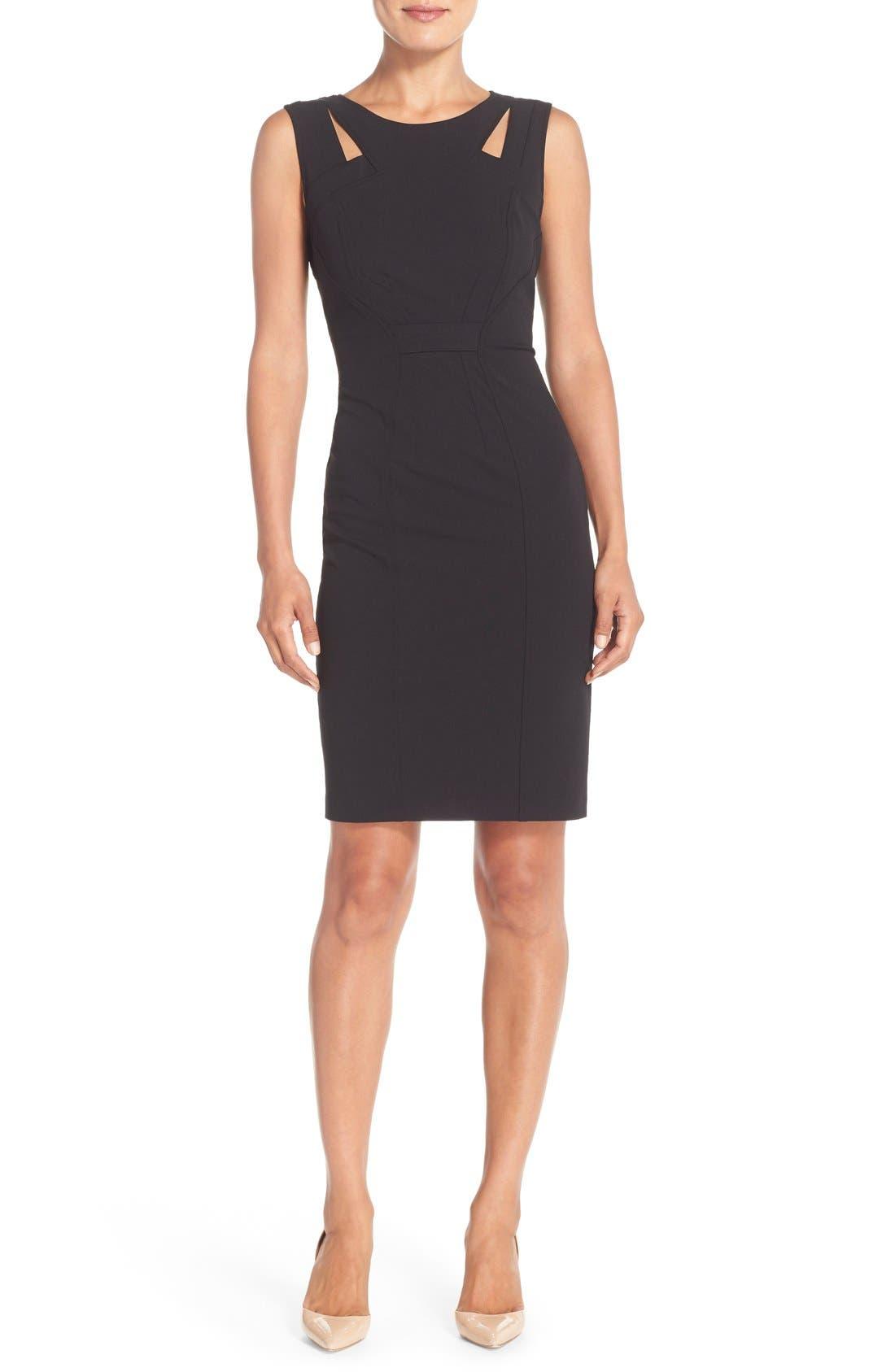 Alternate Image 1 Selected - NYDJ Cutout Shoulder Crepe Sheath Dress