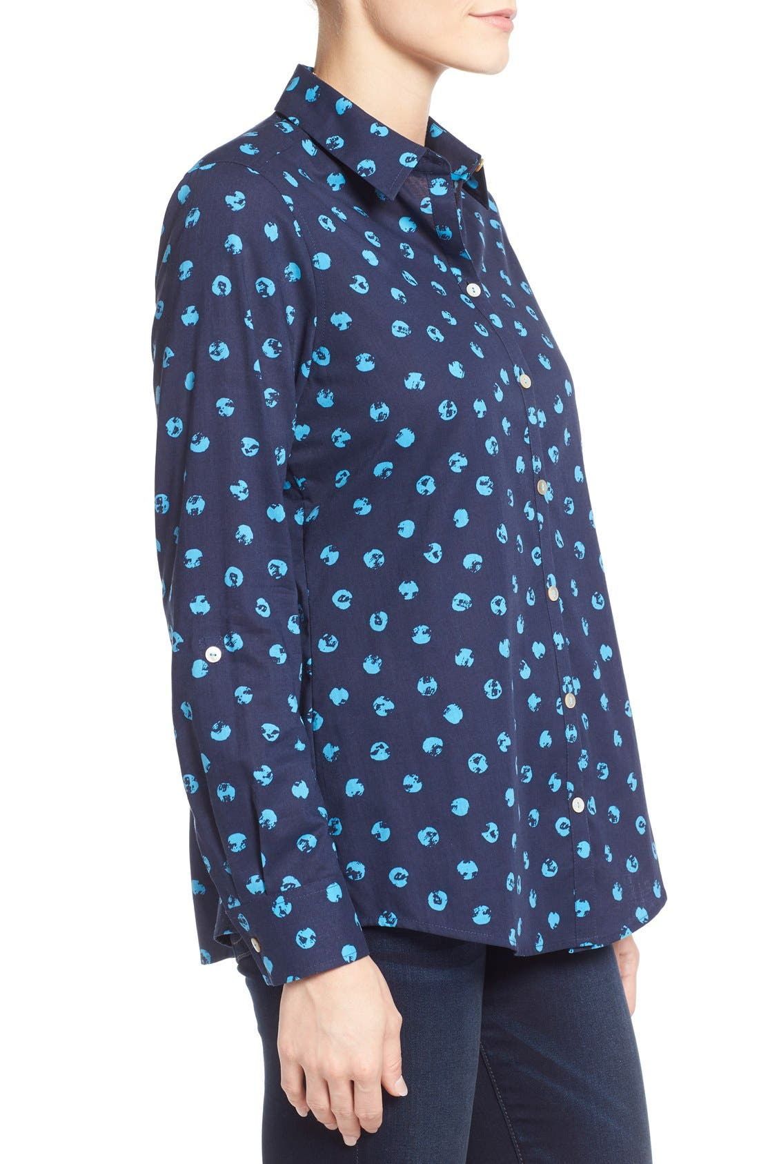 Alternate Image 3  - Foxcroft Distressed Dot Print Roll Sleeve Cotton Shirt (Regular & Petite)