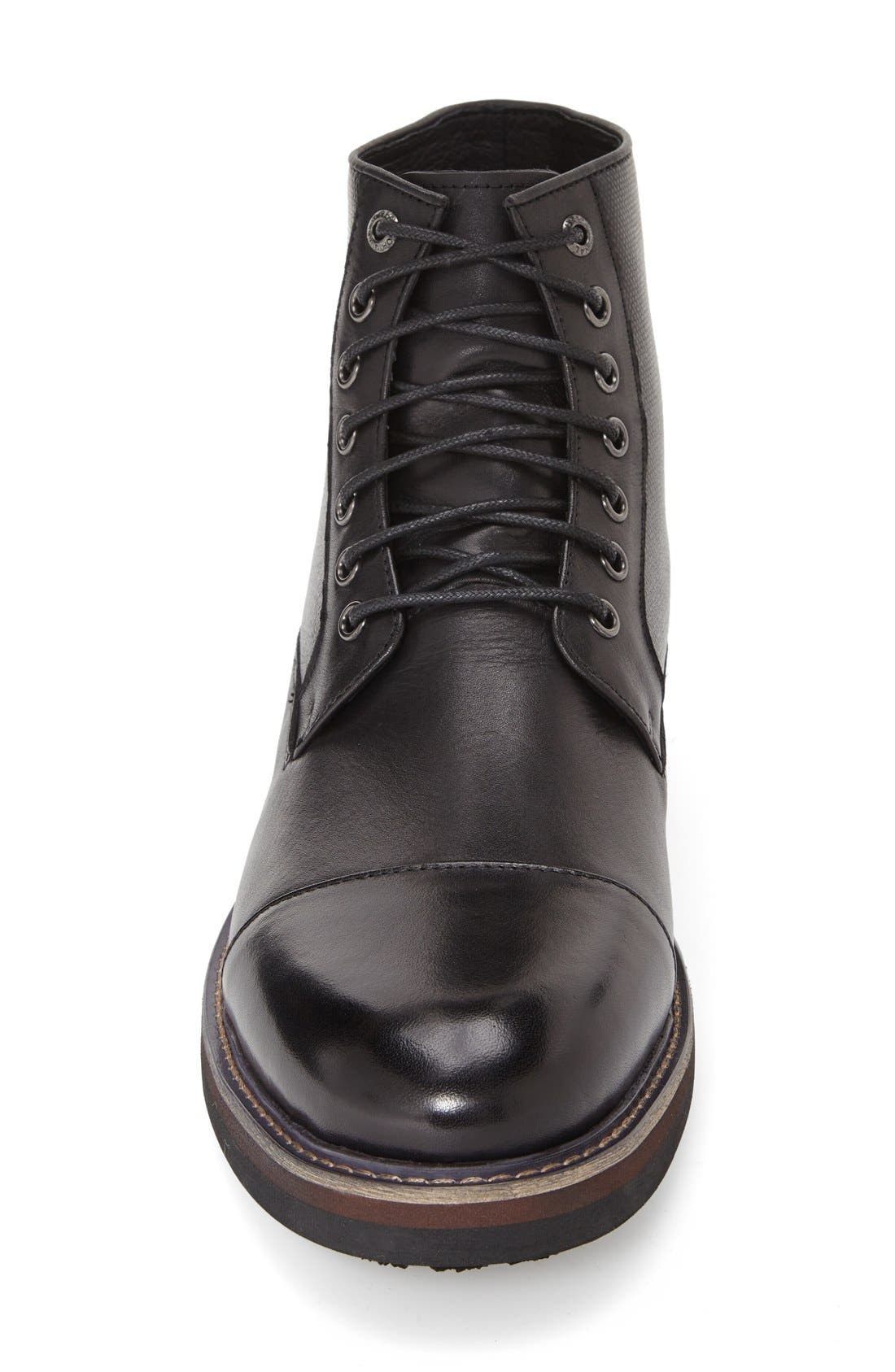'Northstar' Cap Toe Boot,                             Alternate thumbnail 3, color,                             Black Leather