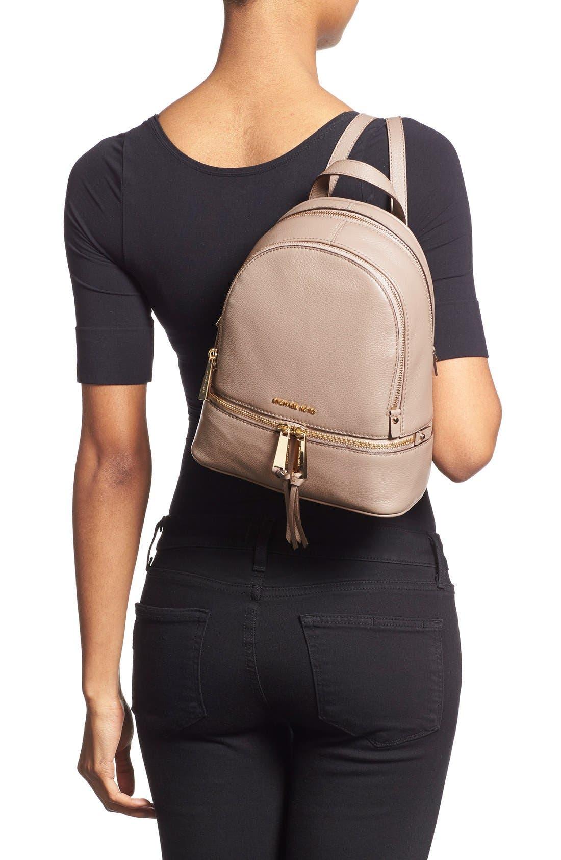 Alternate Image 2  - MICHAEL Michael Kors 'Extra Small Rhea Zip' Leather Backpack