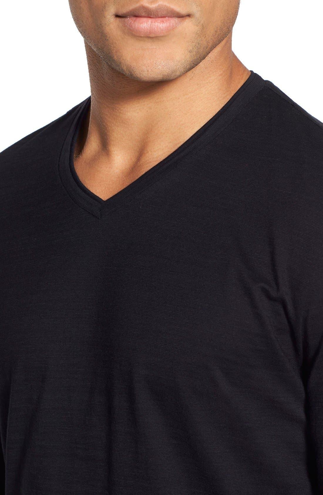 'Tyson' V-Neck Long Sleeve T-Shirt,                             Alternate thumbnail 4, color,                             Black
