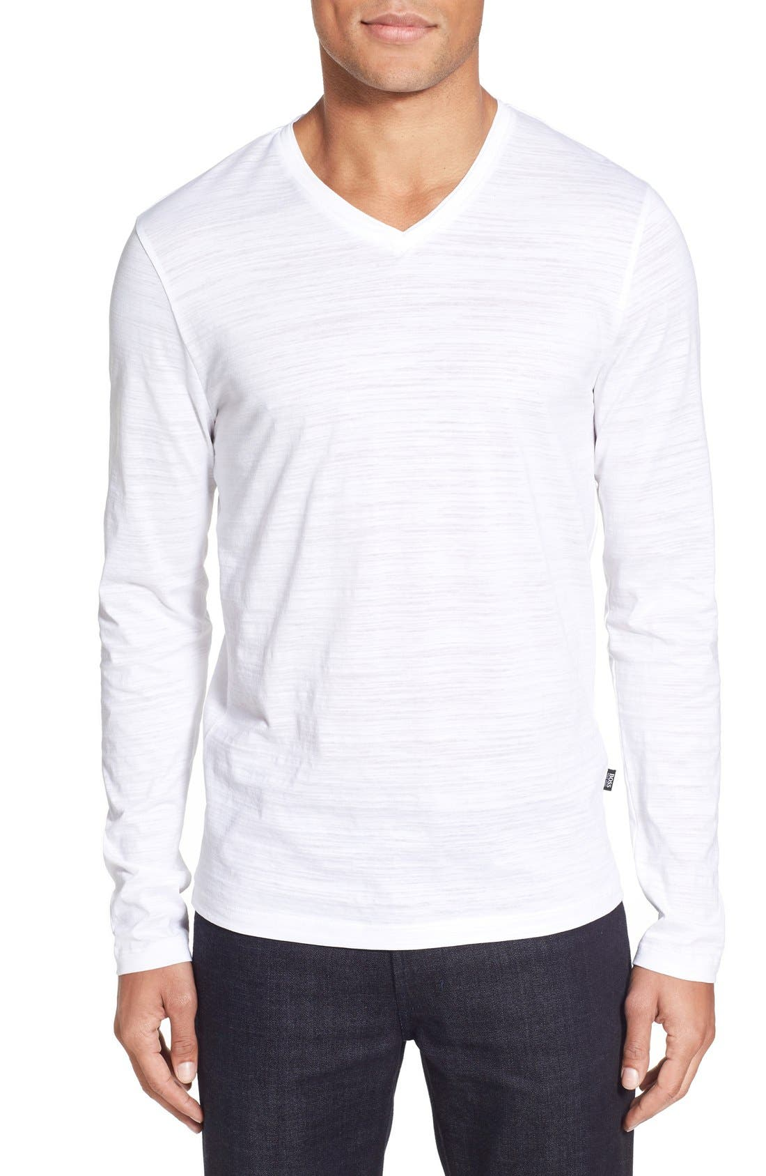 'Tyson' V-Neck Long Sleeve T-Shirt,                             Main thumbnail 1, color,                             White