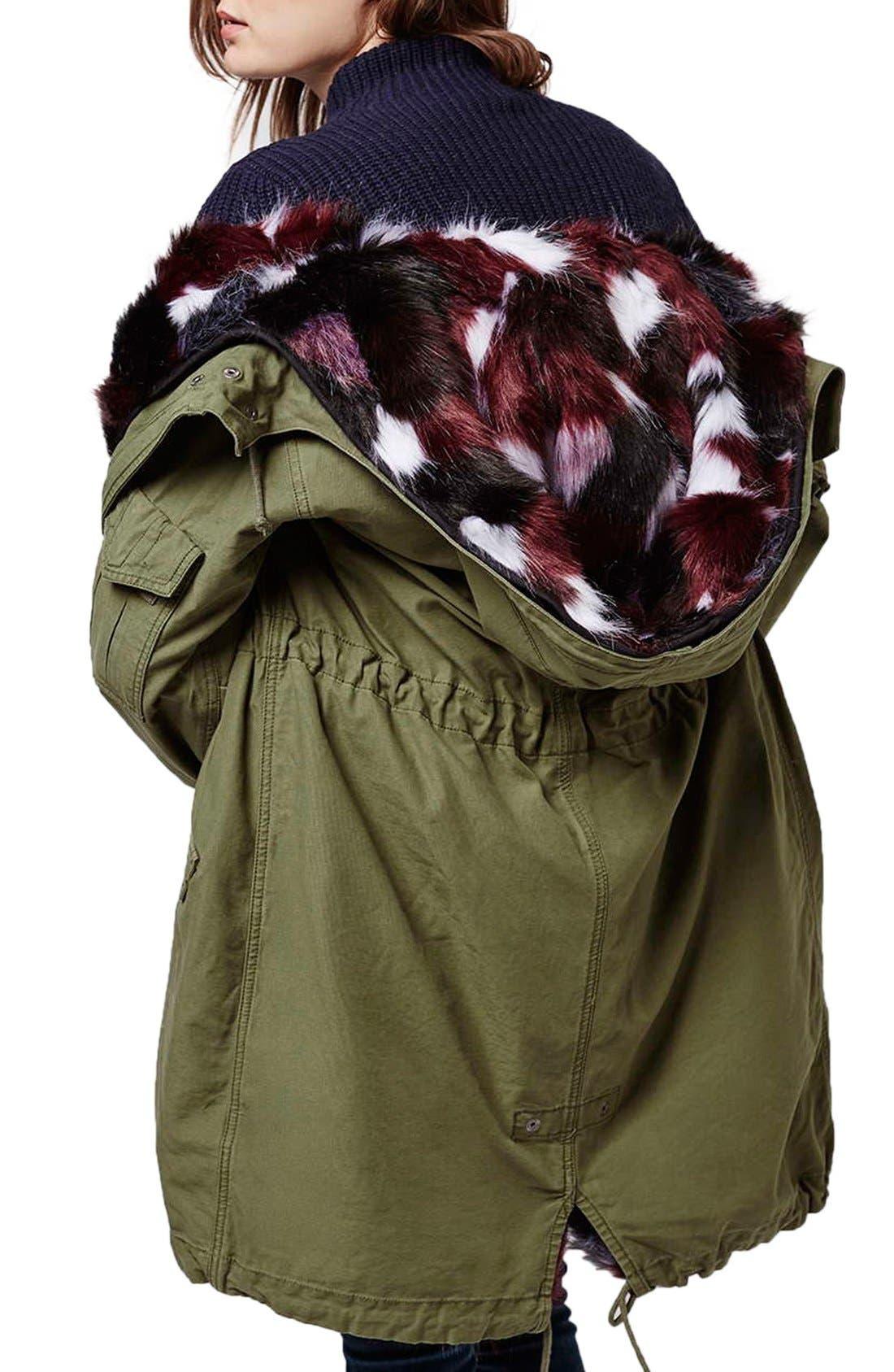 Alternate Image 3  - Topshop Patchwork Faux Fur Lined Parka