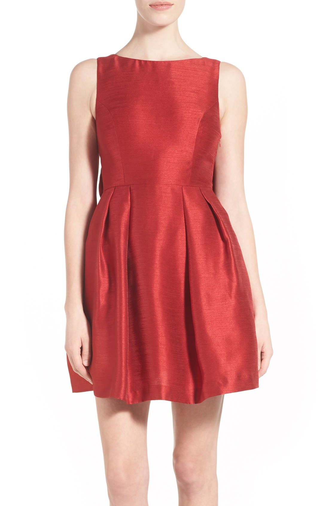 Bow Back Fit & Flare Dress,                             Alternate thumbnail 4, color,                             Dark Red