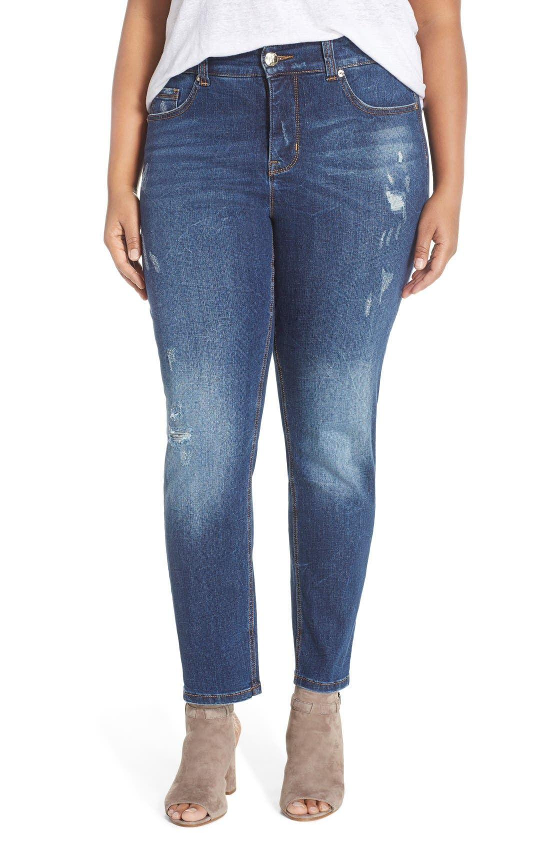 Alternate Image 1 Selected - Melissa McCarthy Seven7 Stretch Straight Leg Jeans (Bonafide) (Plus Size)