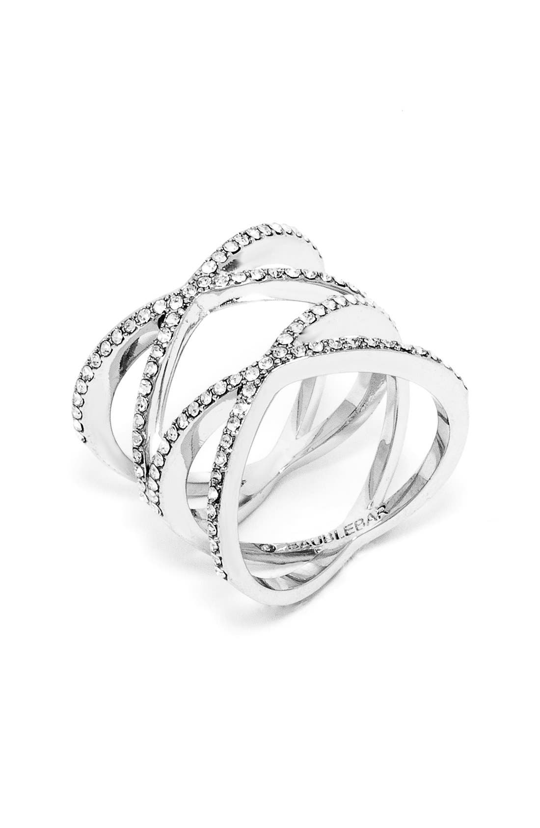 'Gamma' Pavé Ring,                             Main thumbnail 1, color,                             Silver