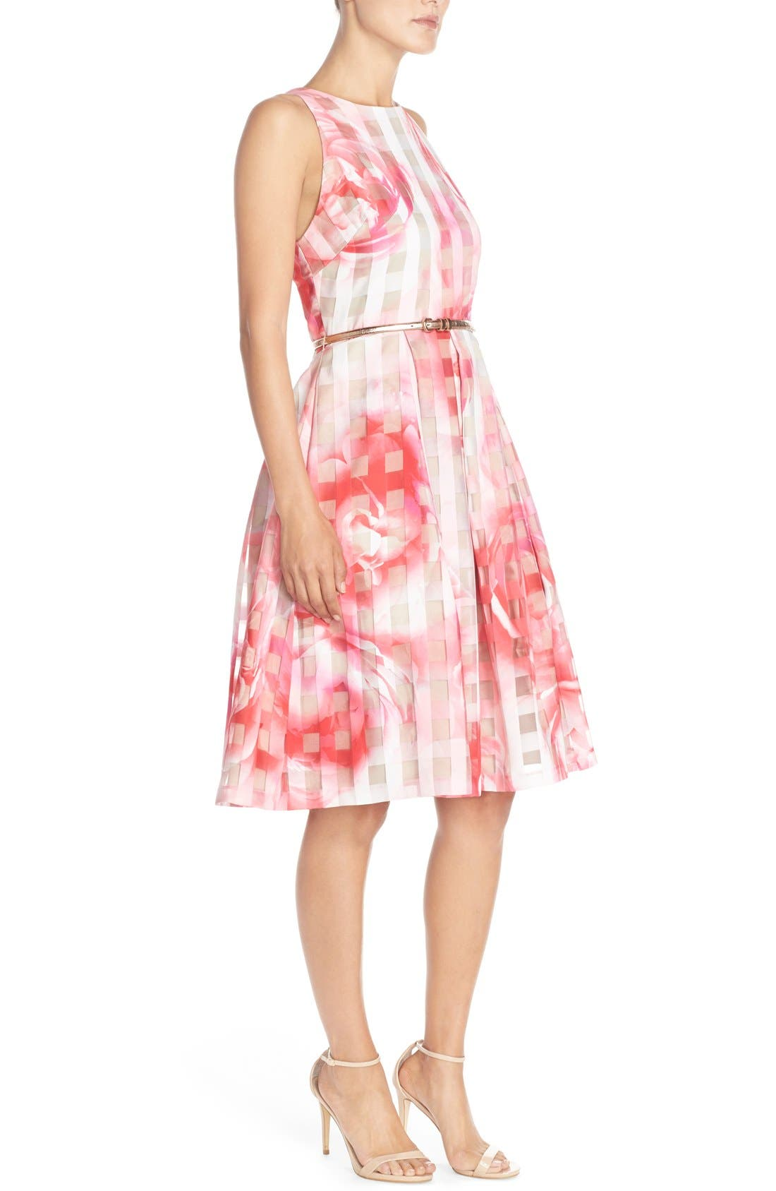 Floral Organza Fit & Flare Dress,                             Alternate thumbnail 3, color,                             Pink Print
