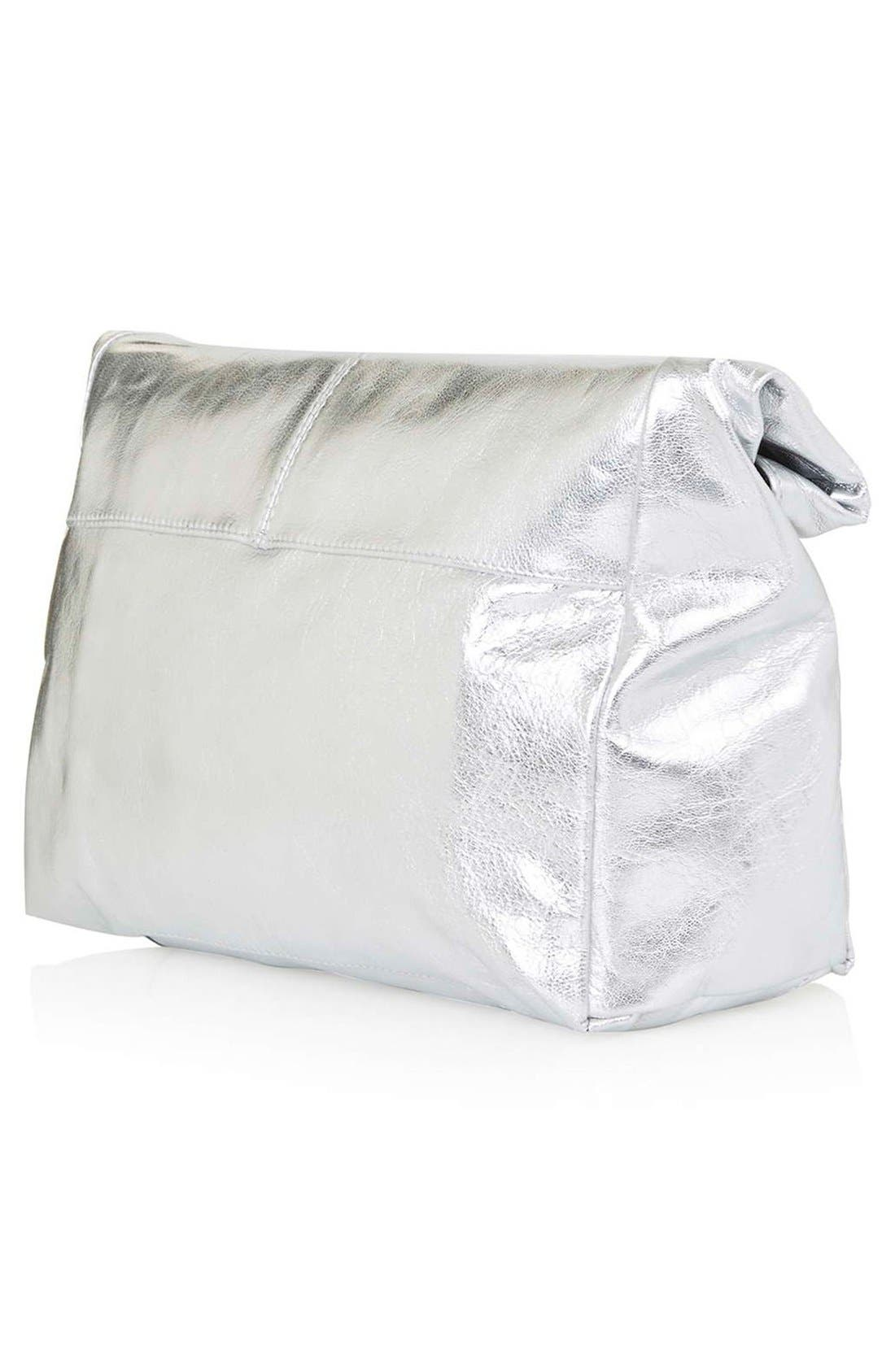 Alternate Image 3  - Topshop Metallic Leather Foldover Clutch