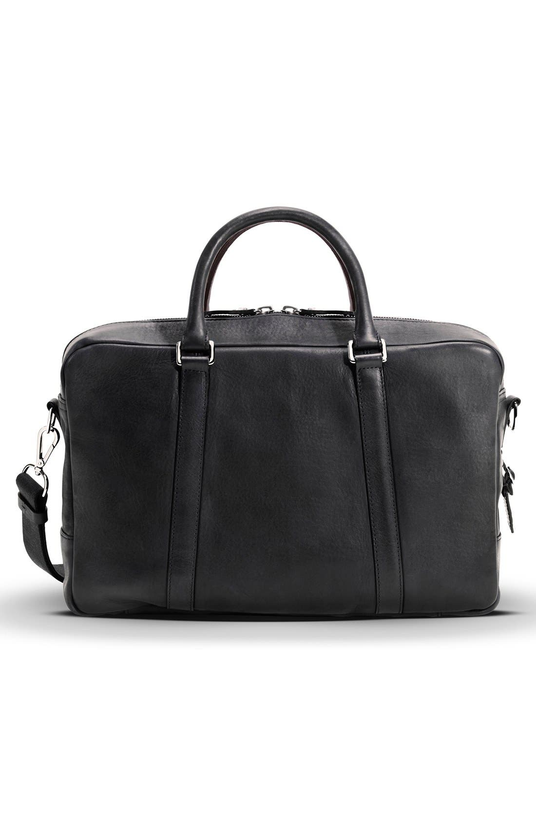 Signature Leather Slim Briefcase,                             Alternate thumbnail 2, color,                             Black