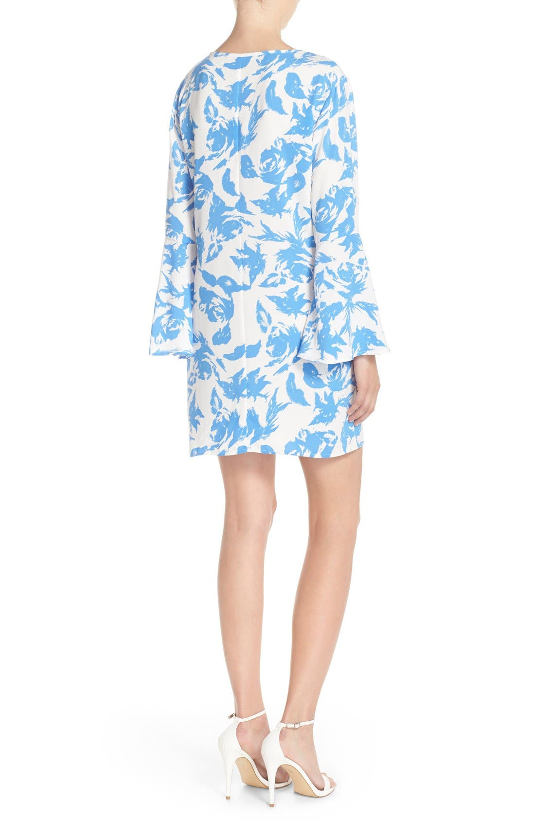 Tie Neck Woven Shift Dress,                             Alternate thumbnail 2, color,                             Blue Flower