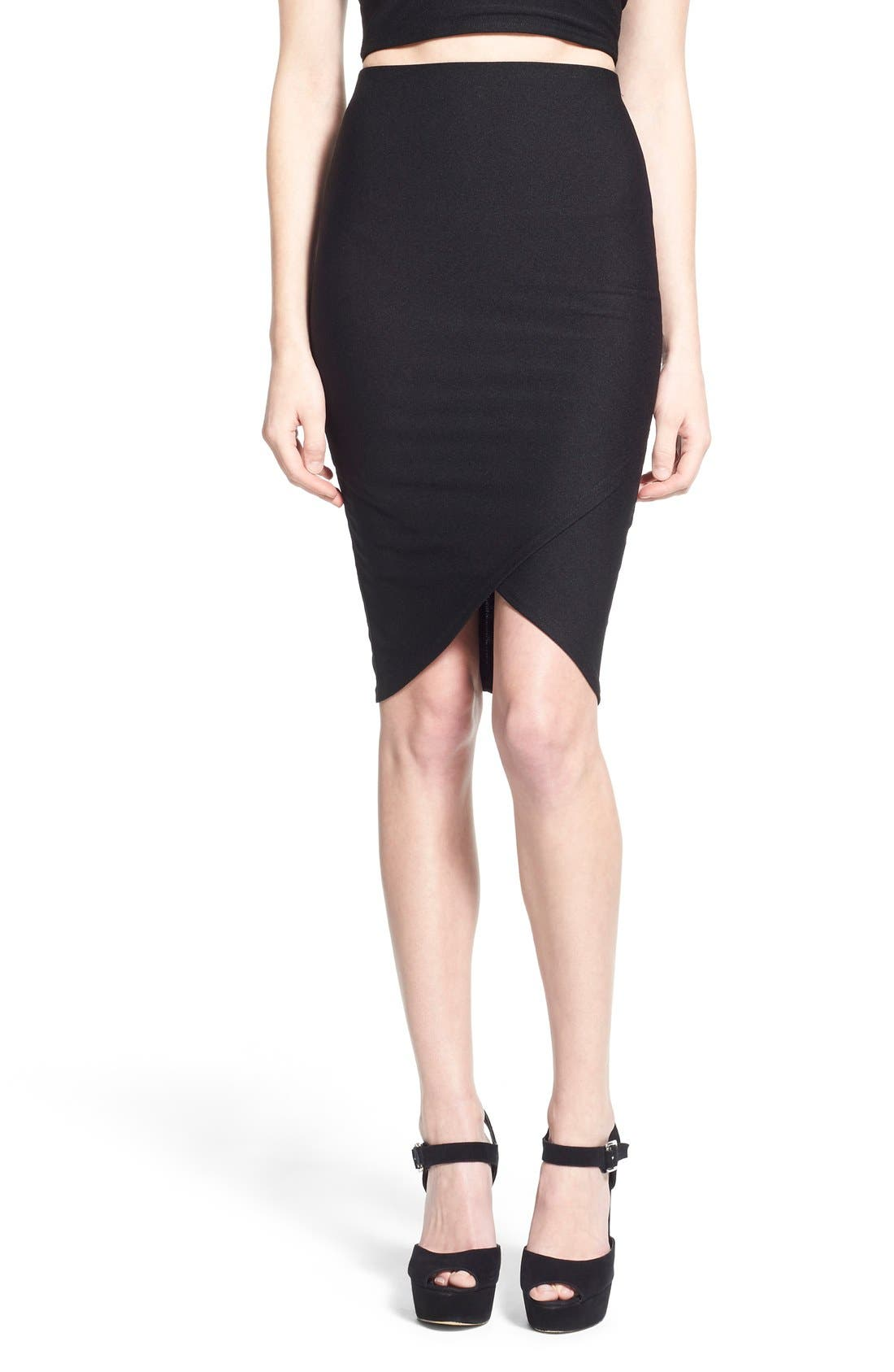 Alternate Image 1 Selected - Missguided Wrap Detail Crepe Midi Skirt