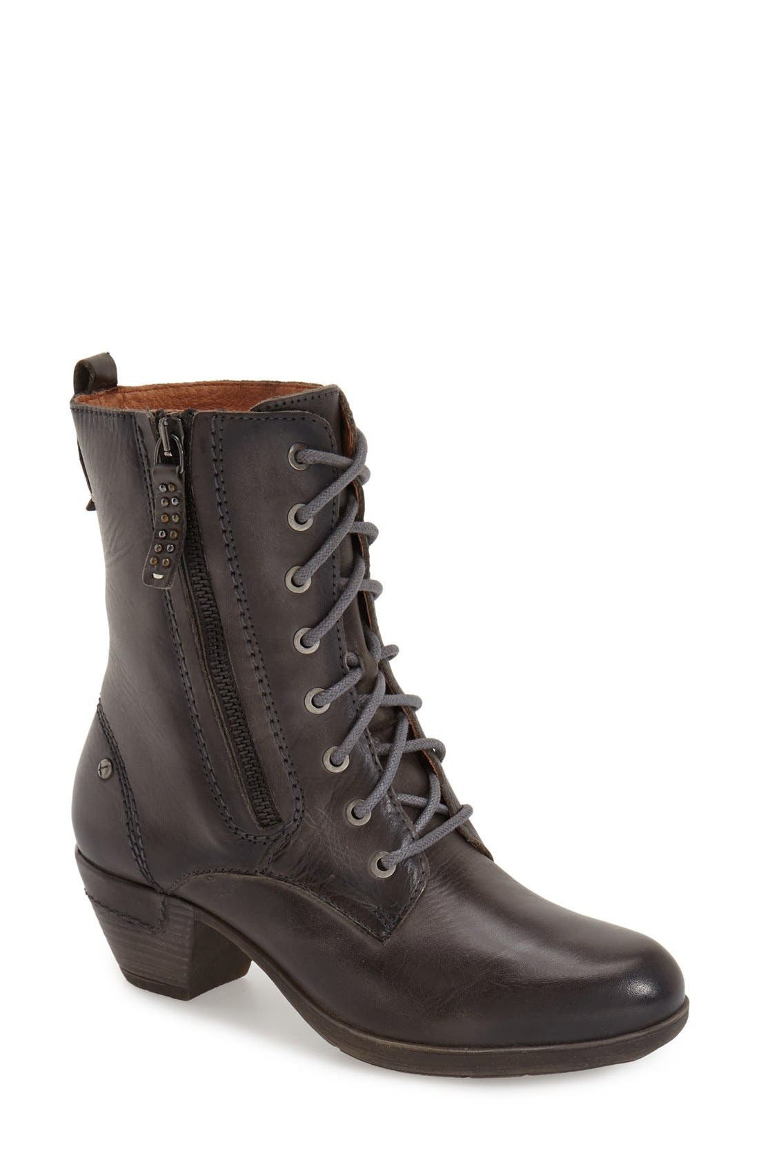 'Rotterdam' Lace-Up Boot,                             Main thumbnail 1, color,                             Lead Leather