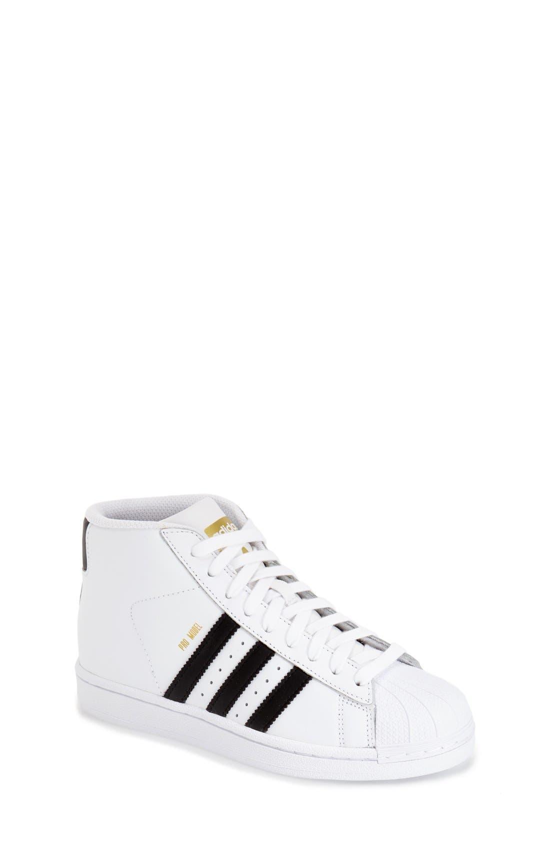 Alternate Image 1 Selected - adidas 'Pro Model' High Top Sneaker (Big Kid)