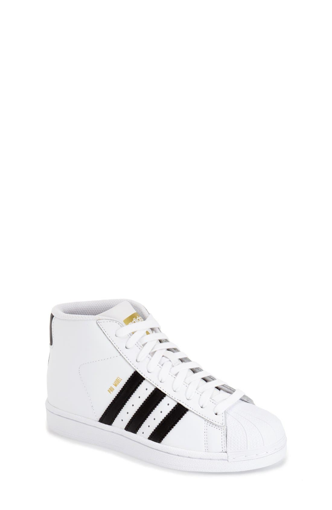 adidas 'Pro Model' High Top Sneaker (Big Kid)
