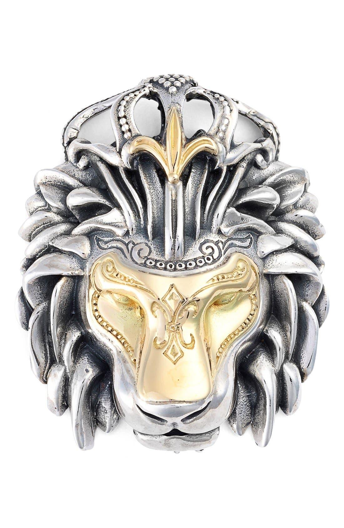 'Minos' Lion Head Pendant,                             Main thumbnail 1, color,                             Silver/ Gold