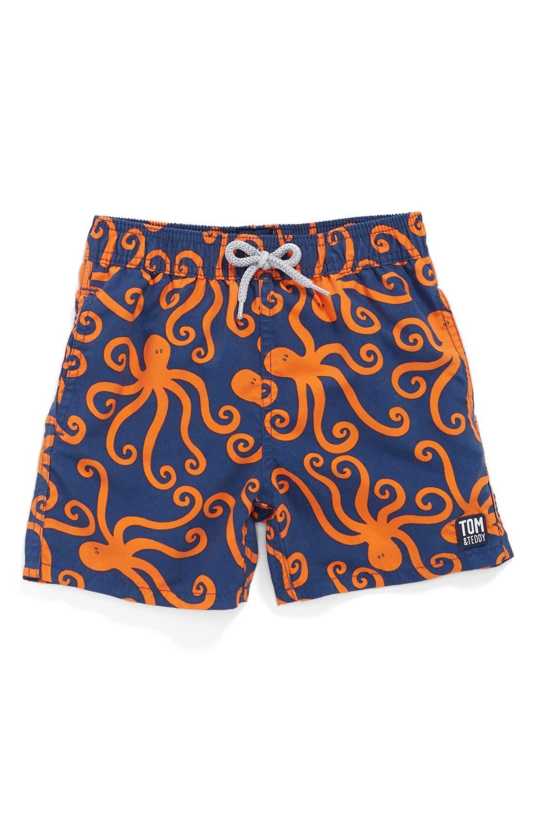 'Octopus Pattern' Swim Trunks,                         Main,                         color, Blue Orange