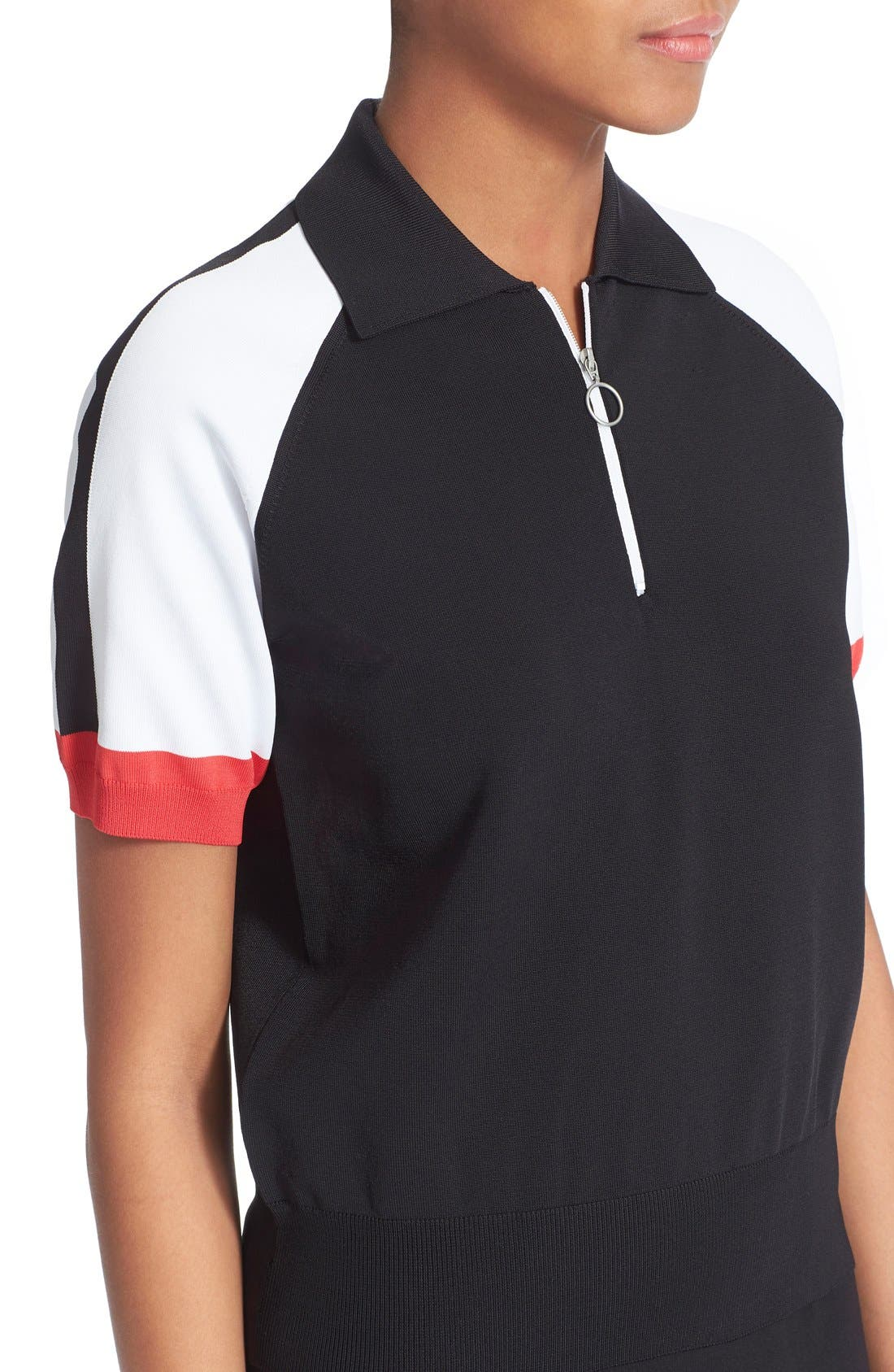Colorblock Jersey Polo Top,                             Alternate thumbnail 4, color,                             Black
