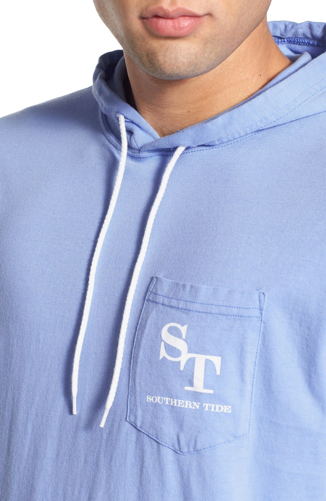 Graphic Hooded Long Sleeve T-Shirt,                             Alternate thumbnail 4, color,                             Sail Blue