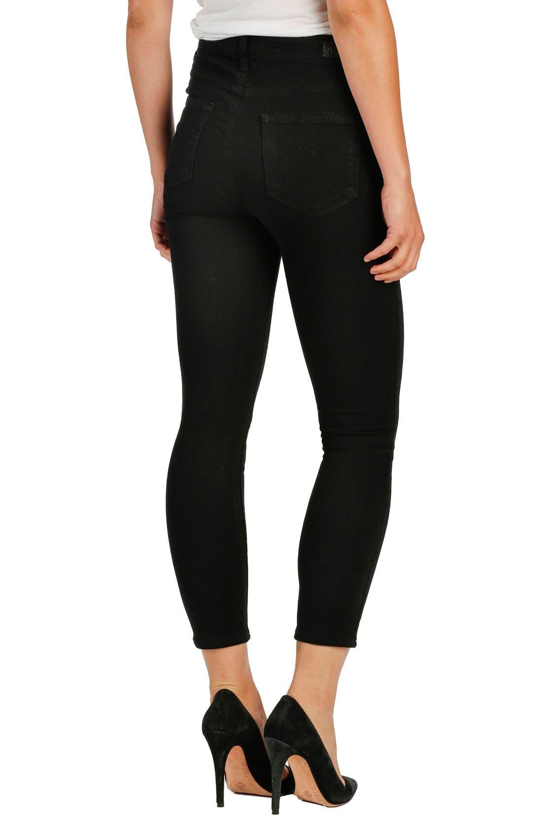 Transcend - Margot High Waist Crop Ultra Skinny Jeans,                             Alternate thumbnail 2, color,                             Black Shadow