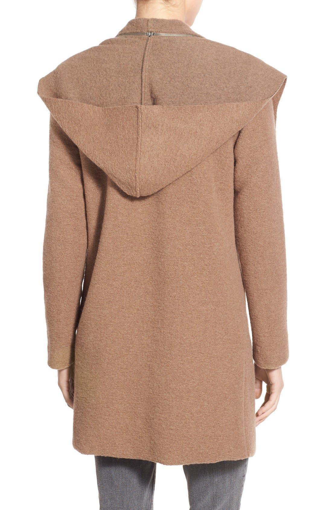 Alternate Image 2  - BB Dakota 'Hudson' Zip Detail Hooded Drape Front Coat