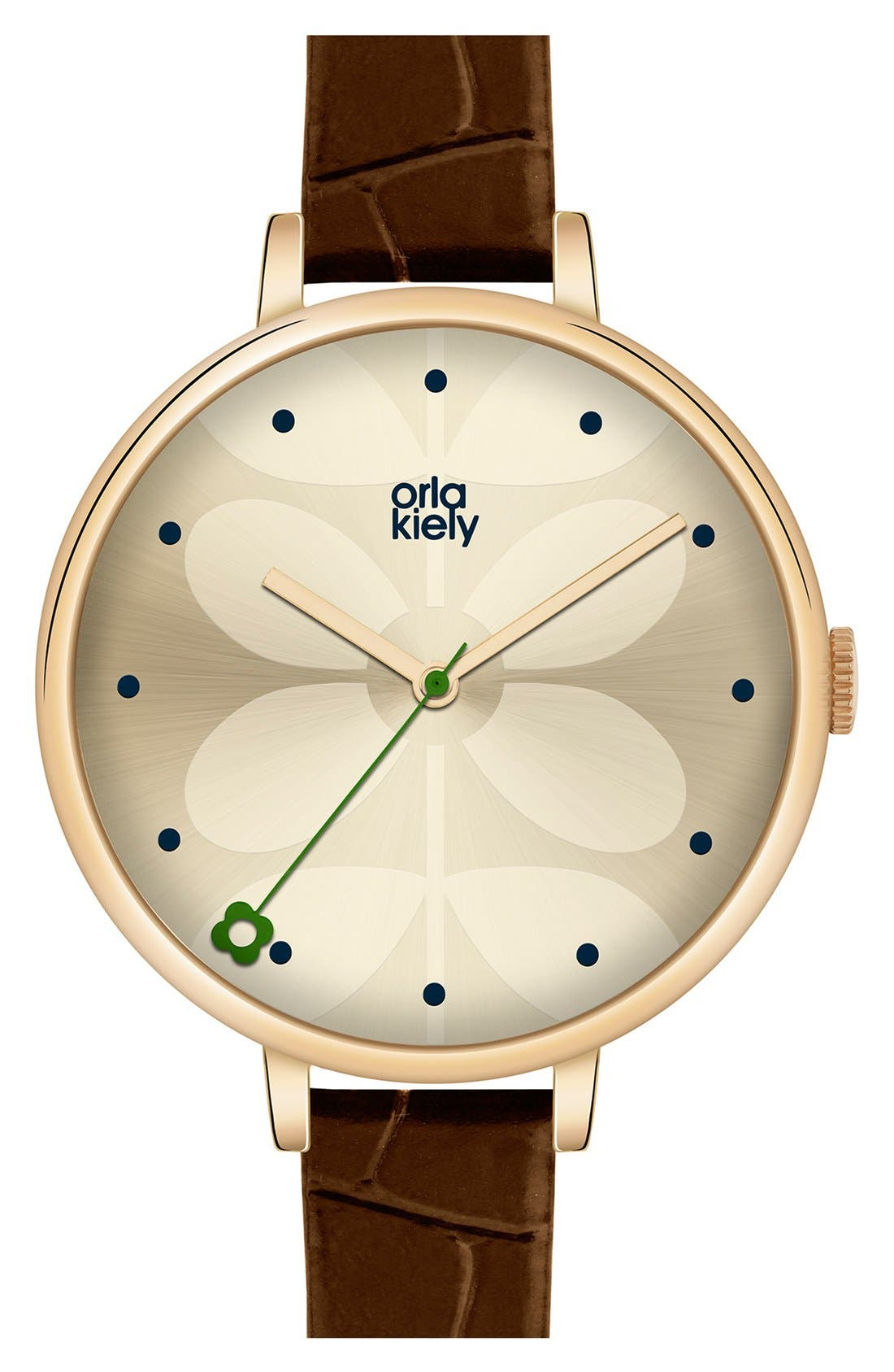 Main Image - Orla Kiely 'Ivy' Leather Strap Watch, 40mm