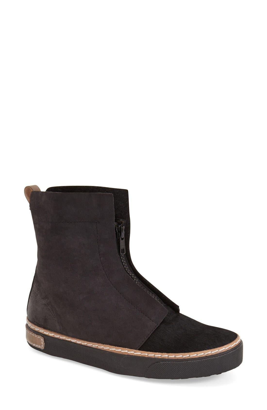 Genuine Calf Hair Zip Chukka Boot,                         Main,                         color, Black Leather