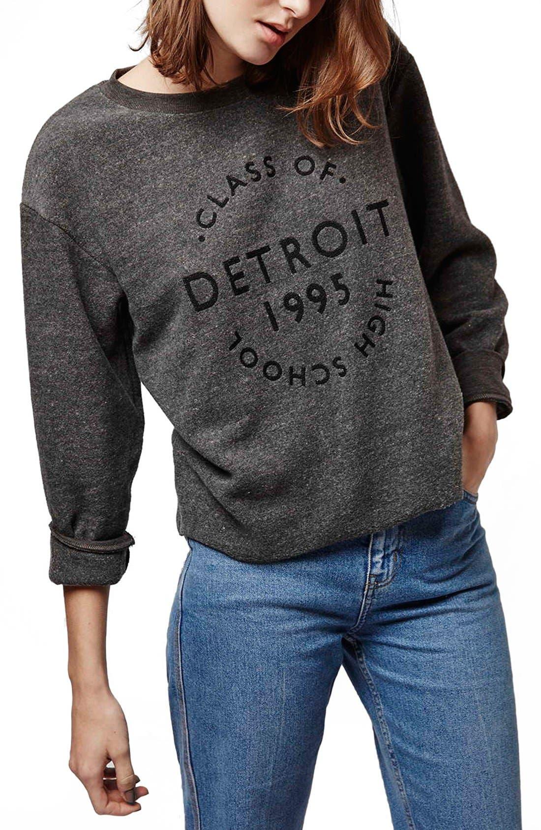 Alternate Image 1 Selected - Topshop 'Detroit' Brushed Crewneck Sweatshirt