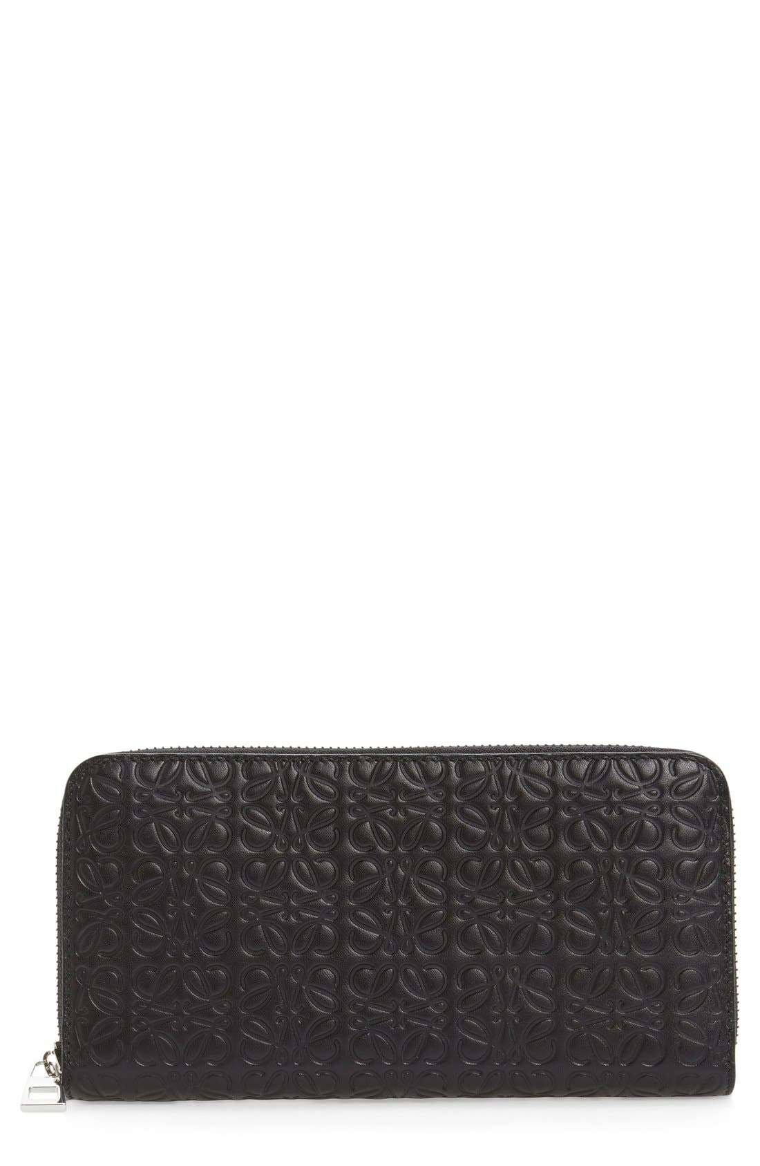 Leather Zip Around Wallet,                         Main,                         color, Black
