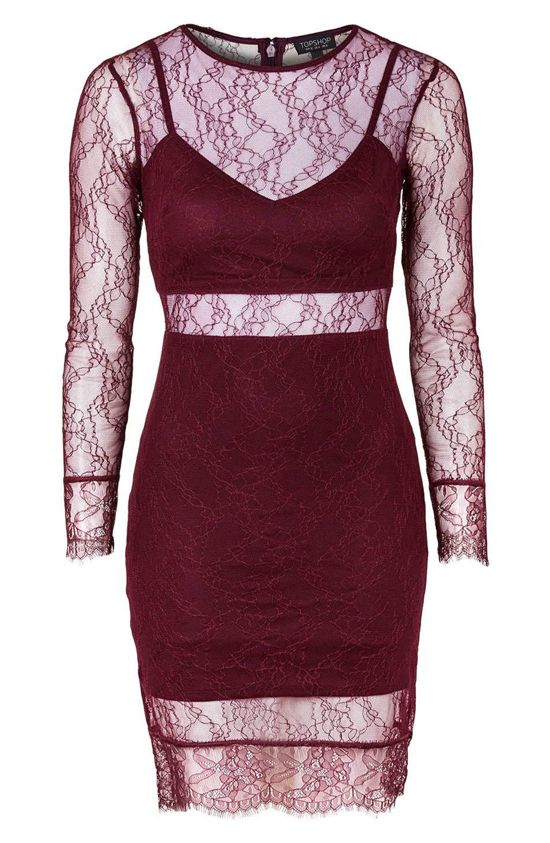 Alternate Image 3  - Topshop Lace Overlay Body-Con Dress (Regular & Petite)