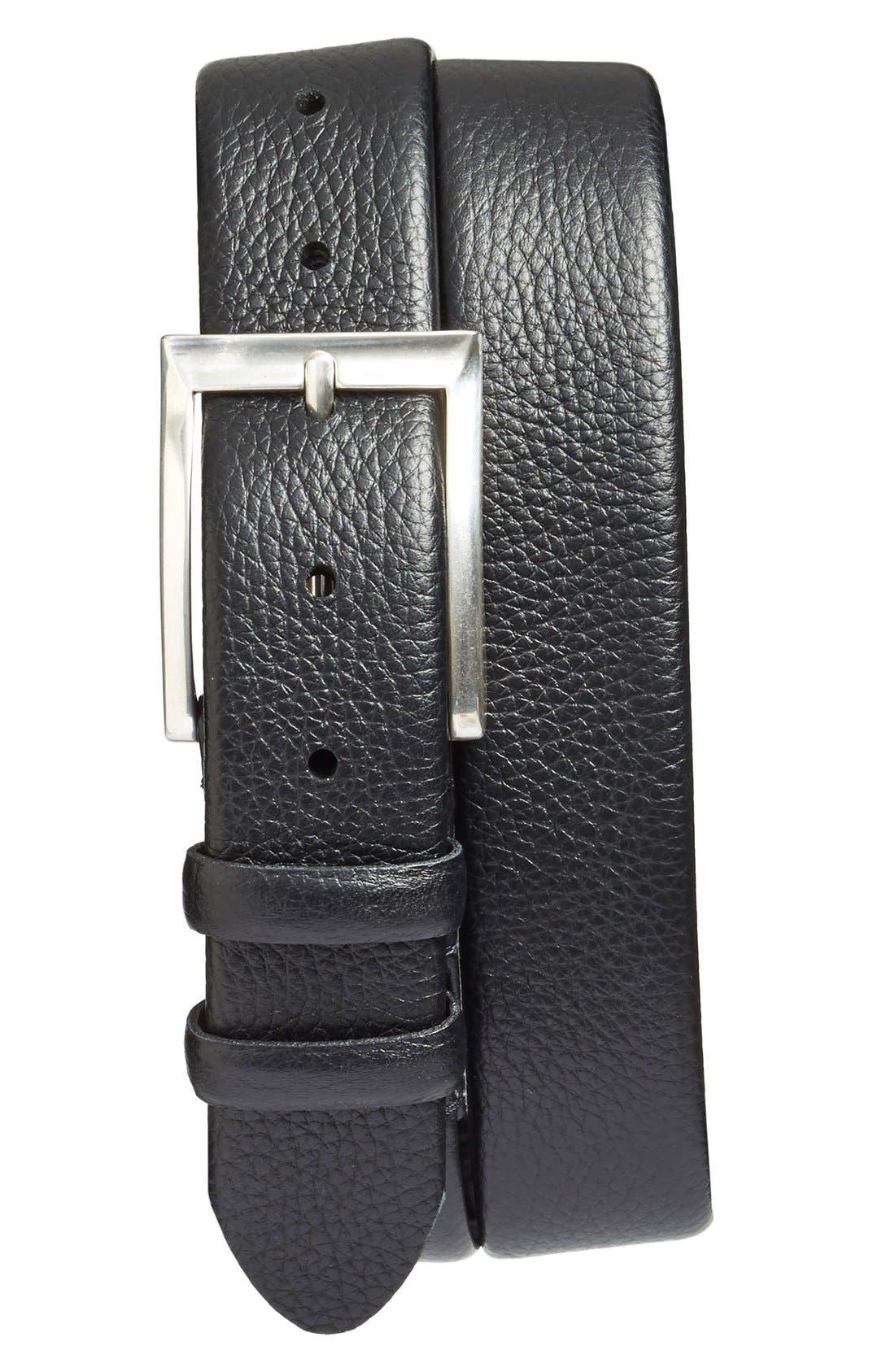 'Tribeca' Leather Belt,                             Main thumbnail 1, color,                             Black Tribeca