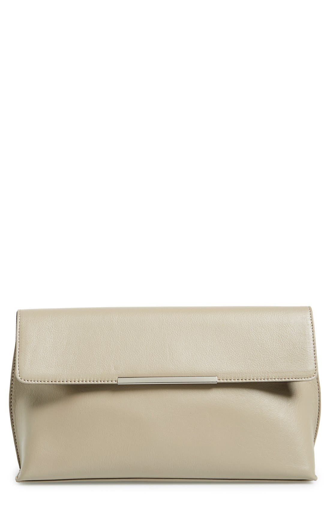 Halogen 'Magnolia' Leather Clutch,                             Main thumbnail 1, color,                             Tan Greige