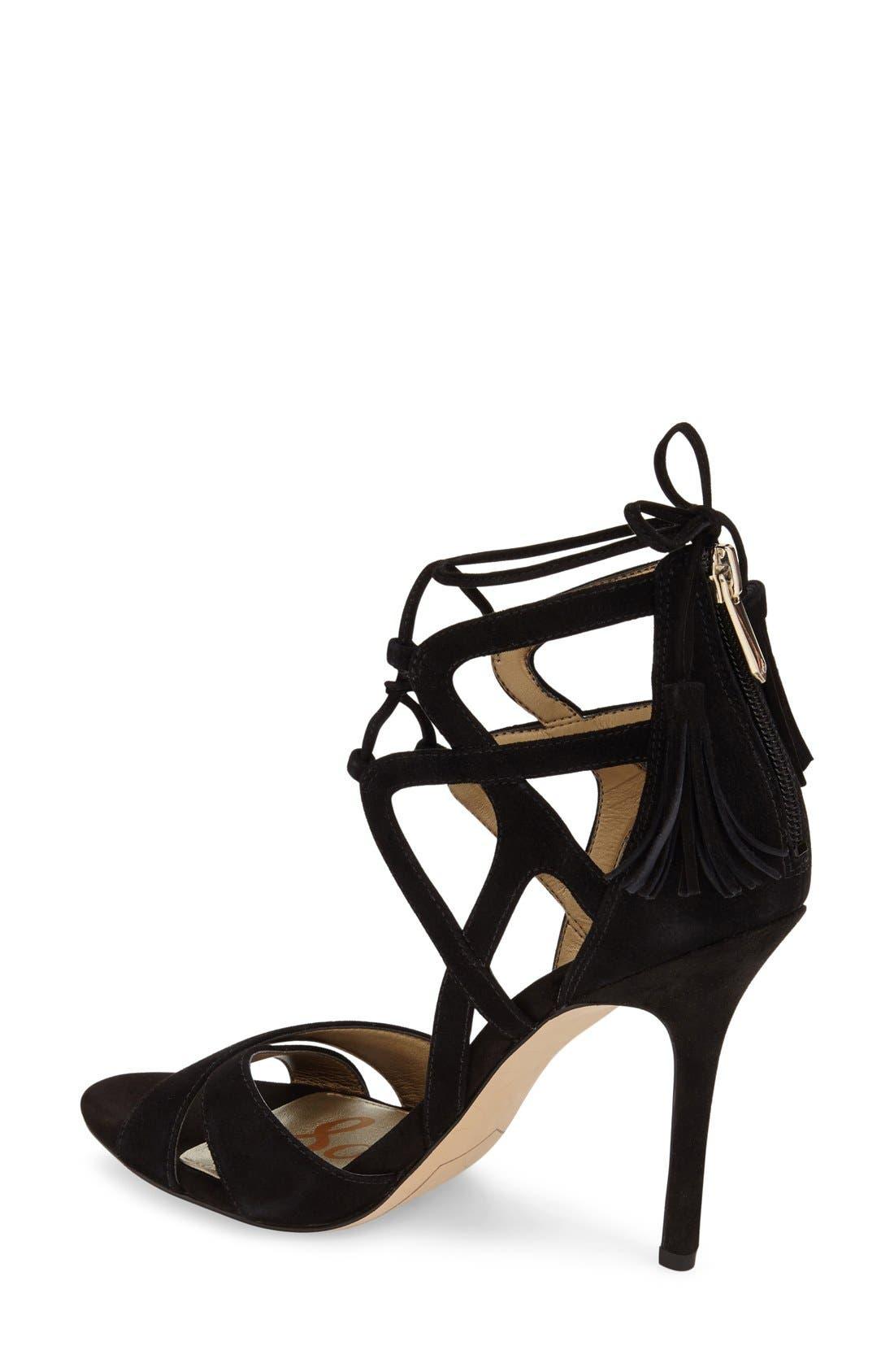 'Azela' Tasseled Lace-Up Sandal,                             Alternate thumbnail 2, color,                             Black Suede