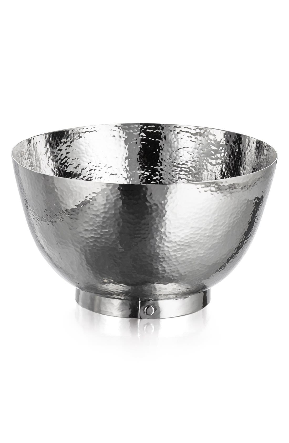 'Rivet' Hammered Stainless Steel Bowl,                         Main,                         color, Silver