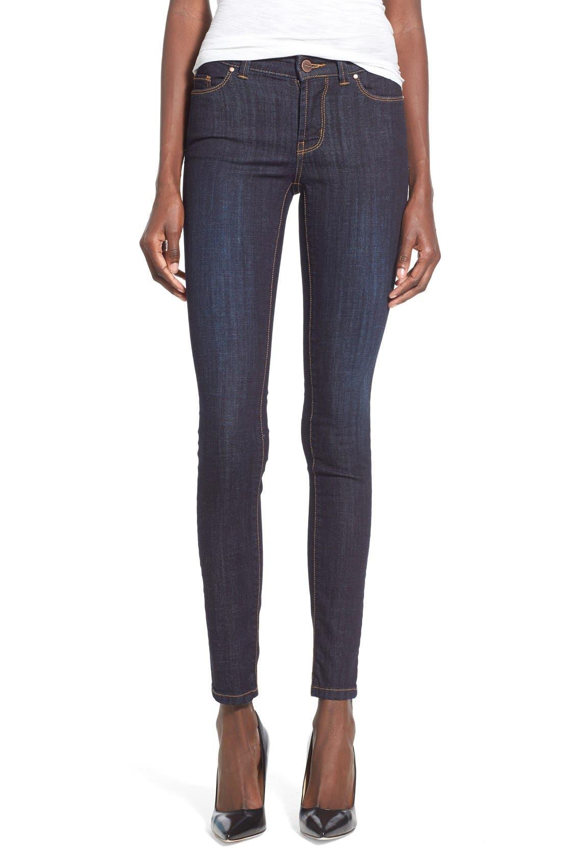 Alternate Image 1 Selected - Halogen® Plain Pocket Stretch Skinny Jeans (Regular & Petite)