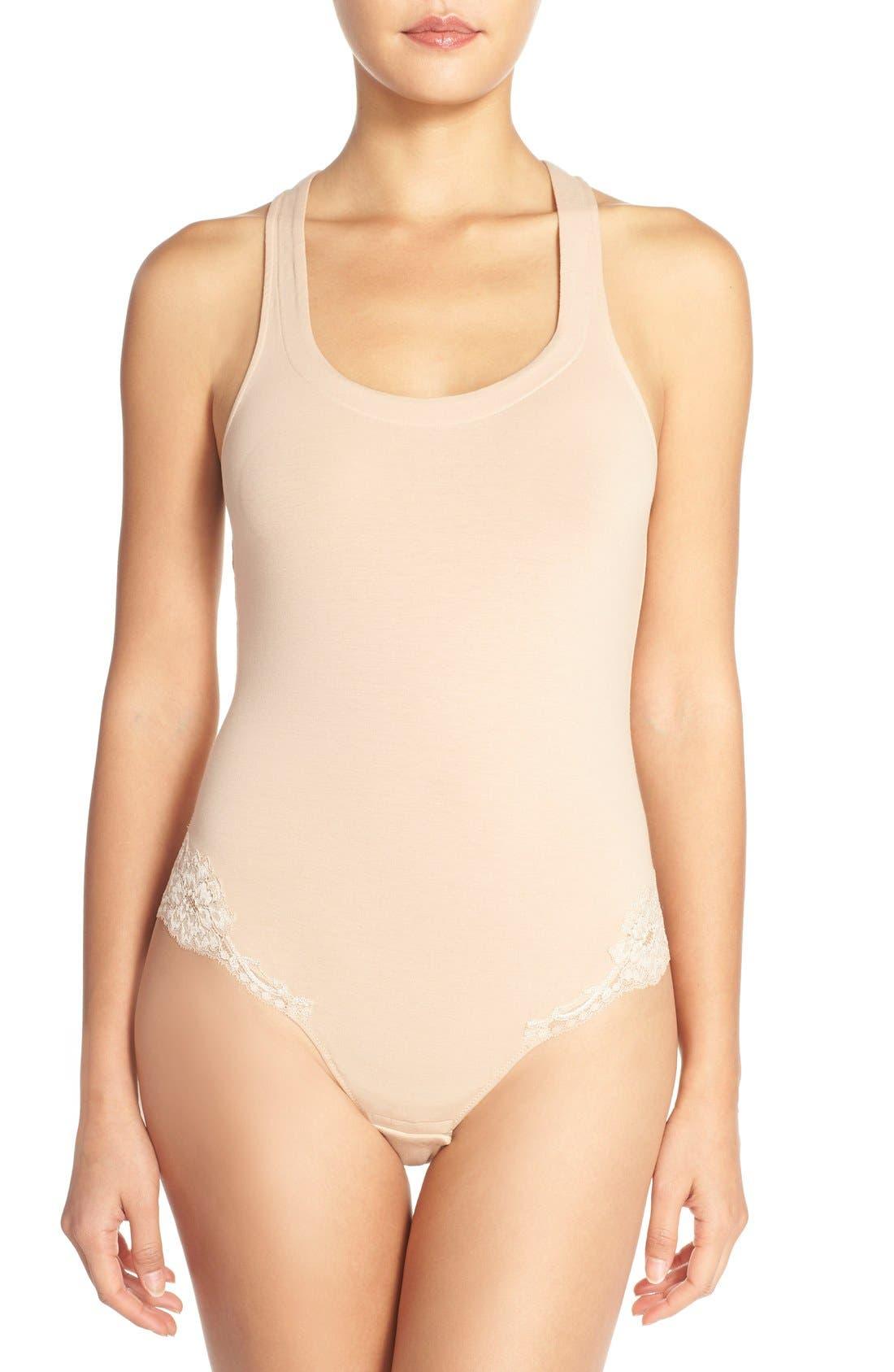 'Spalla Larga' Racerback Bodysuit,                         Main,                         color, Nude