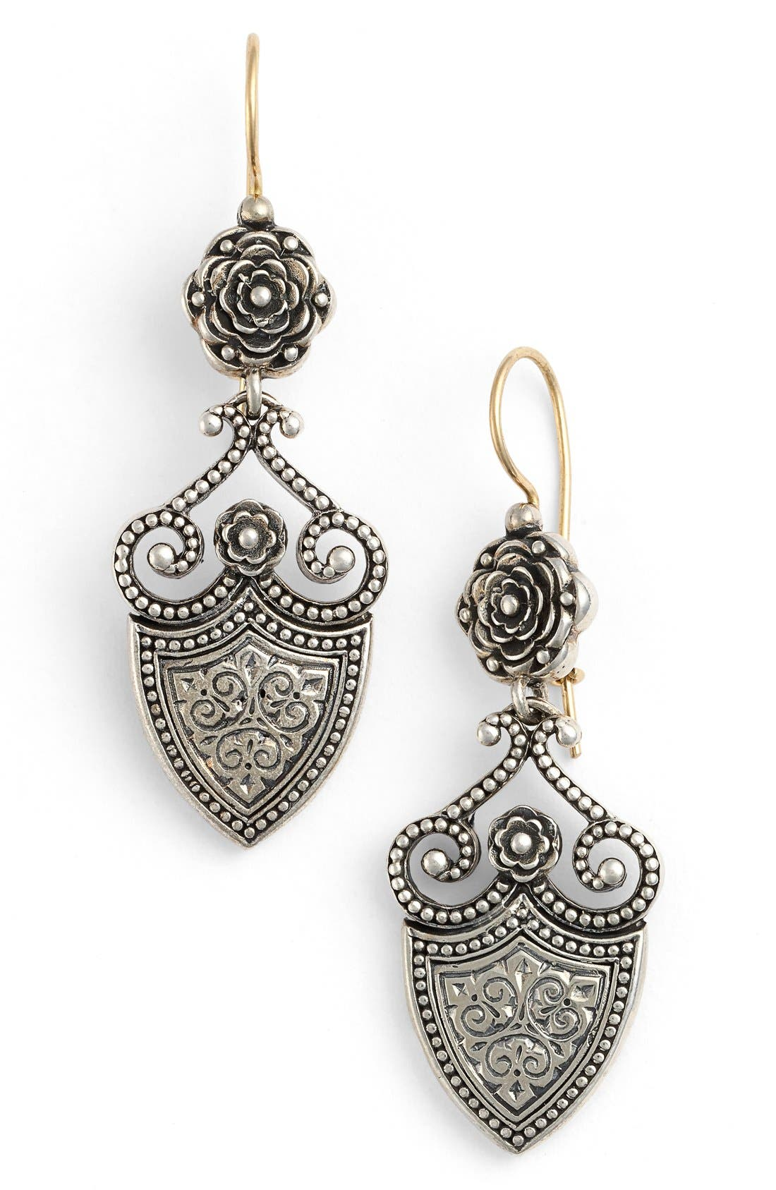 'Silver Classics' Shield Drop Earrings,                             Main thumbnail 1, color,                             Silver